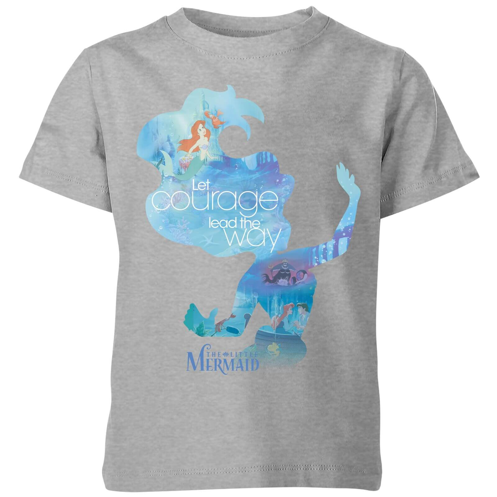 disney princess filled silhouette ariel kids' t-shirt - grey - 3-4 years - grey