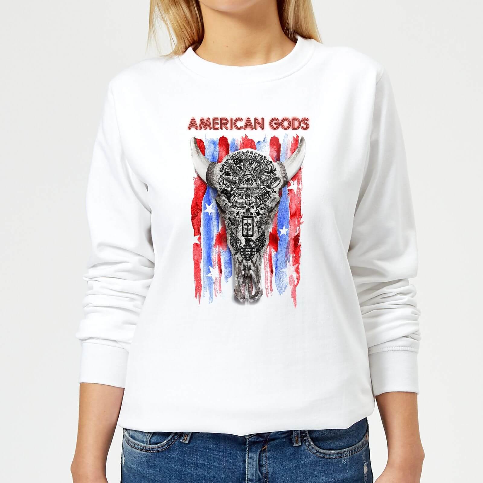 American Gods Skull Flag Women's Sweatshirt - White - XXL - White