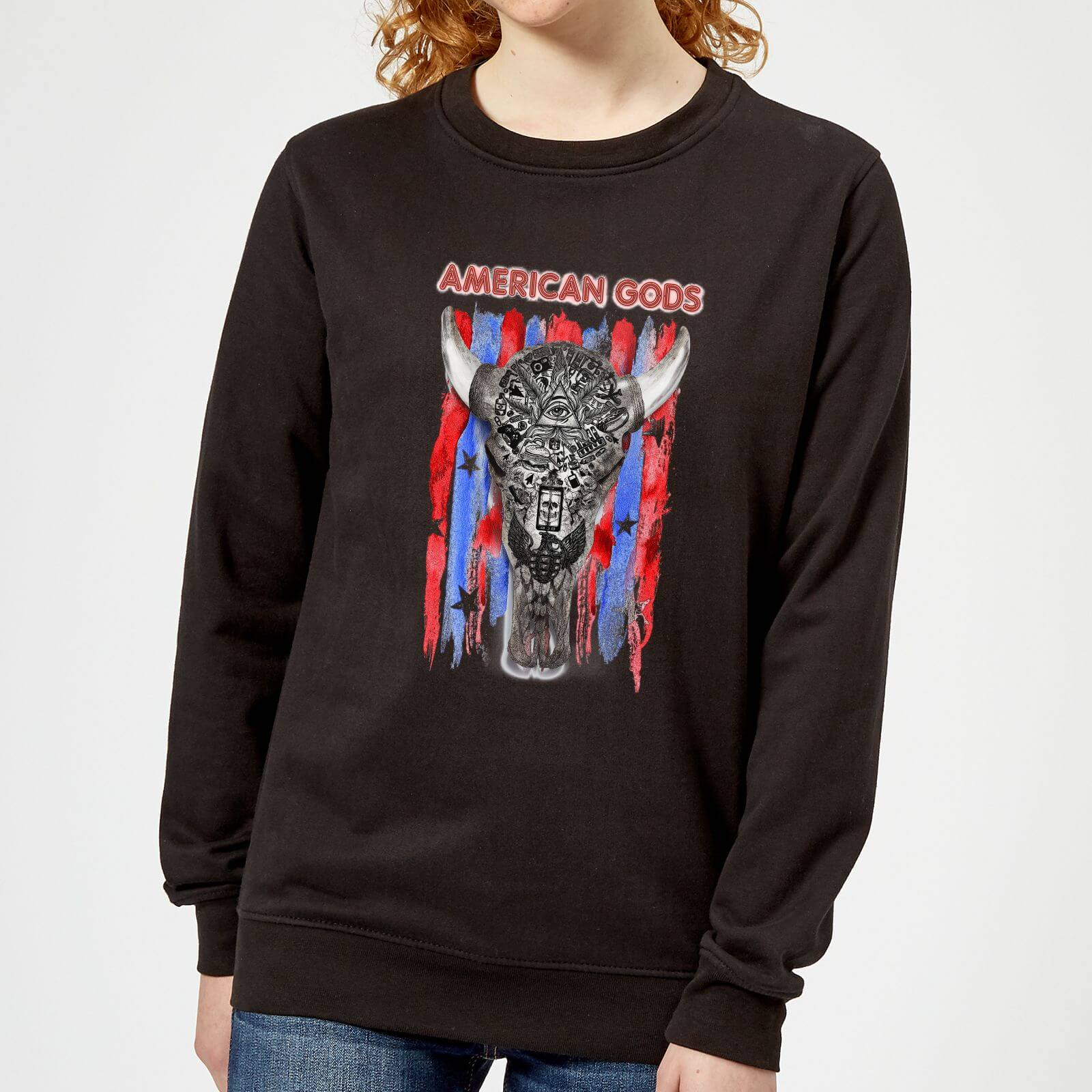 American Gods Skull Flag Women's Sweatshirt - Black - XL - Black