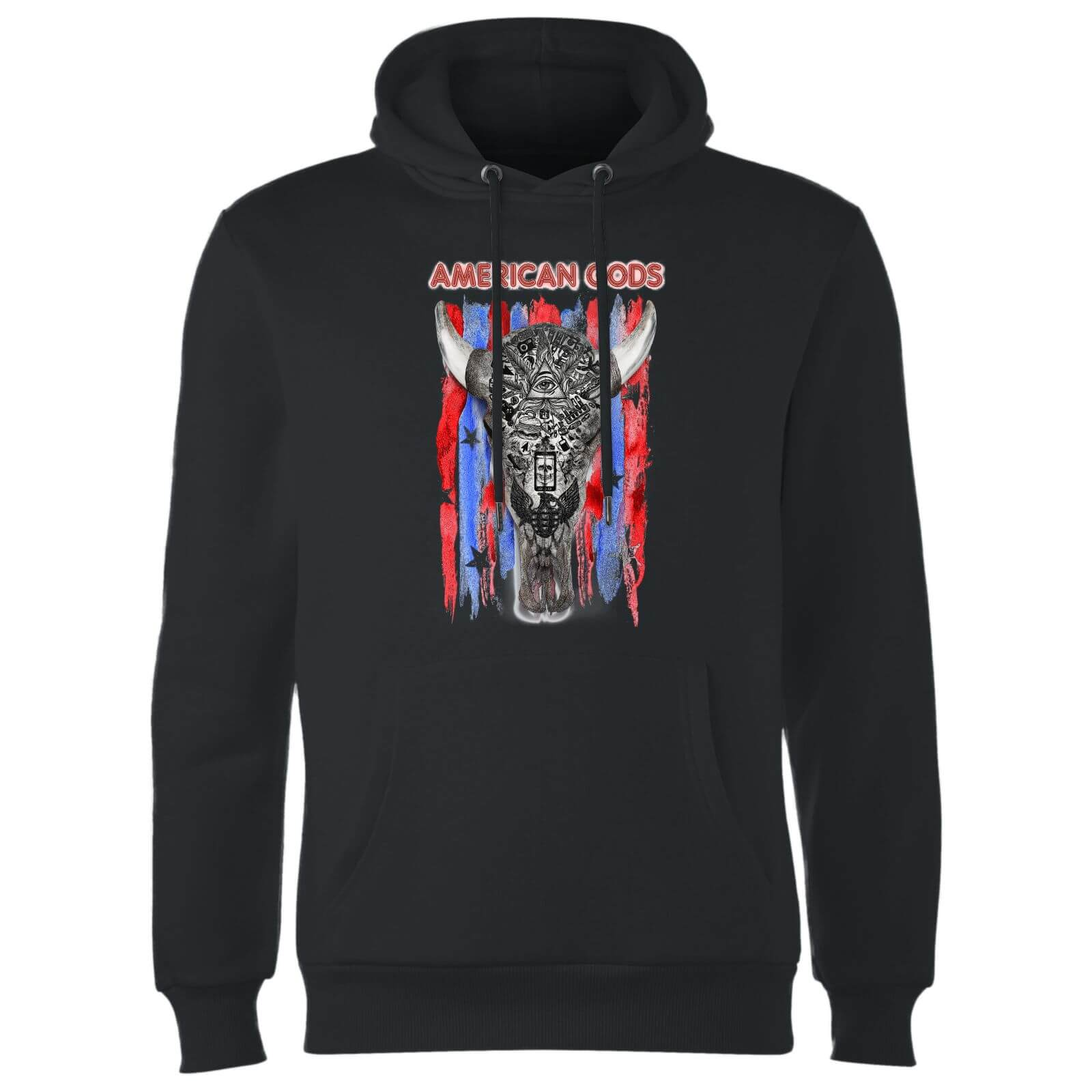 American Gods Skull Flag Hoodie - Black - S - Black