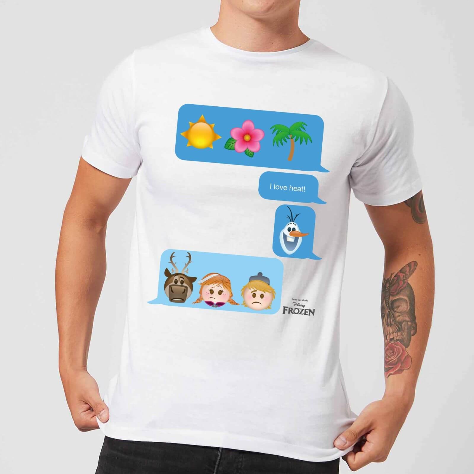 Disney Disney Frozen I Love Heat Emoji Men's T-Shirt - White - 5XL - White