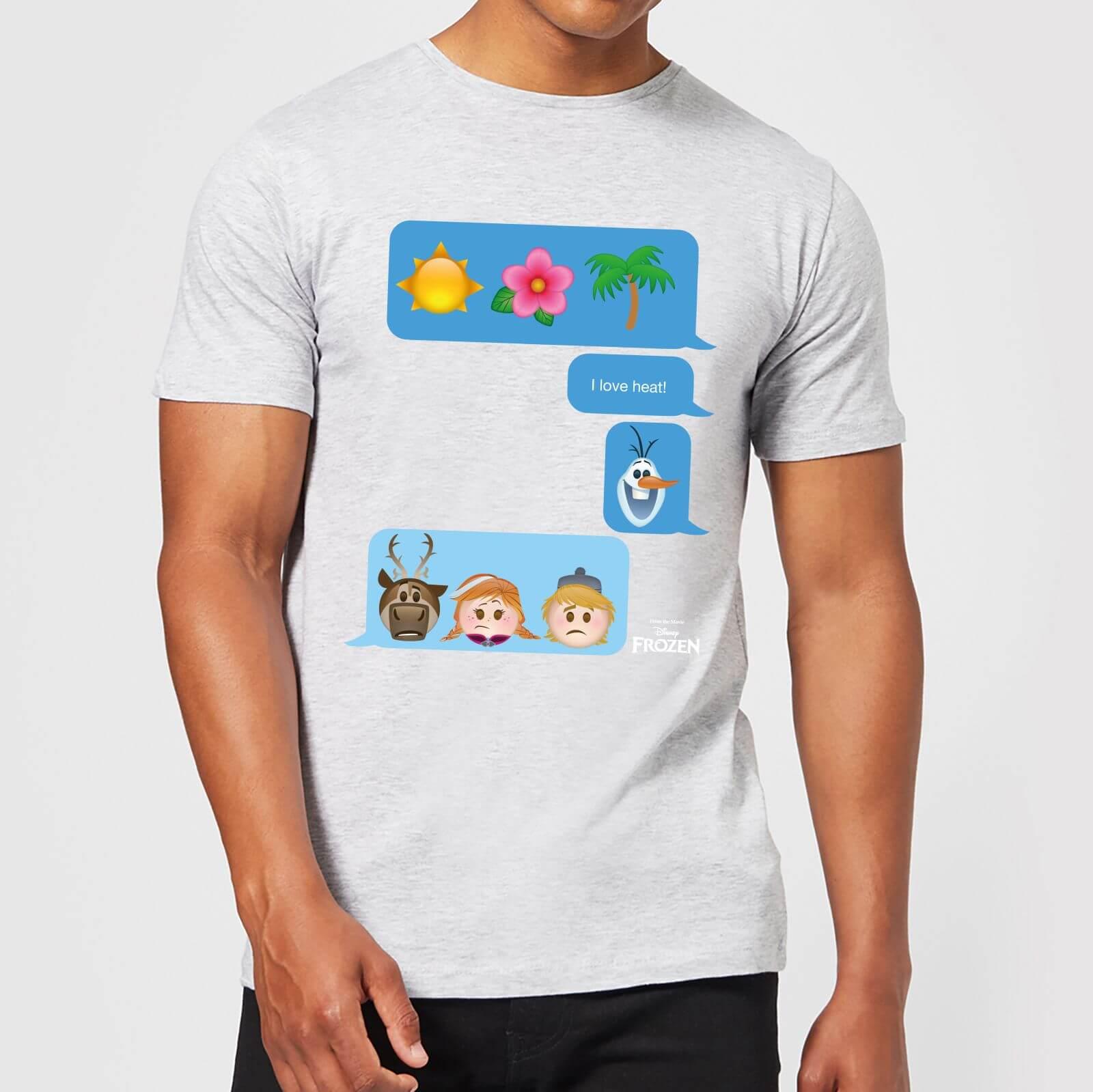 Disney Disney Frozen I Love Heat Emoji Men's T-Shirt - Grey - 3XL - Grey
