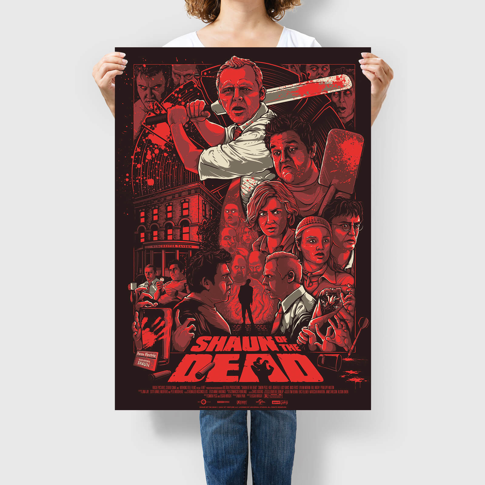 White Duck Editions Shaun of the Dead  Who Died and Made You King of the Zombies  Screenprint