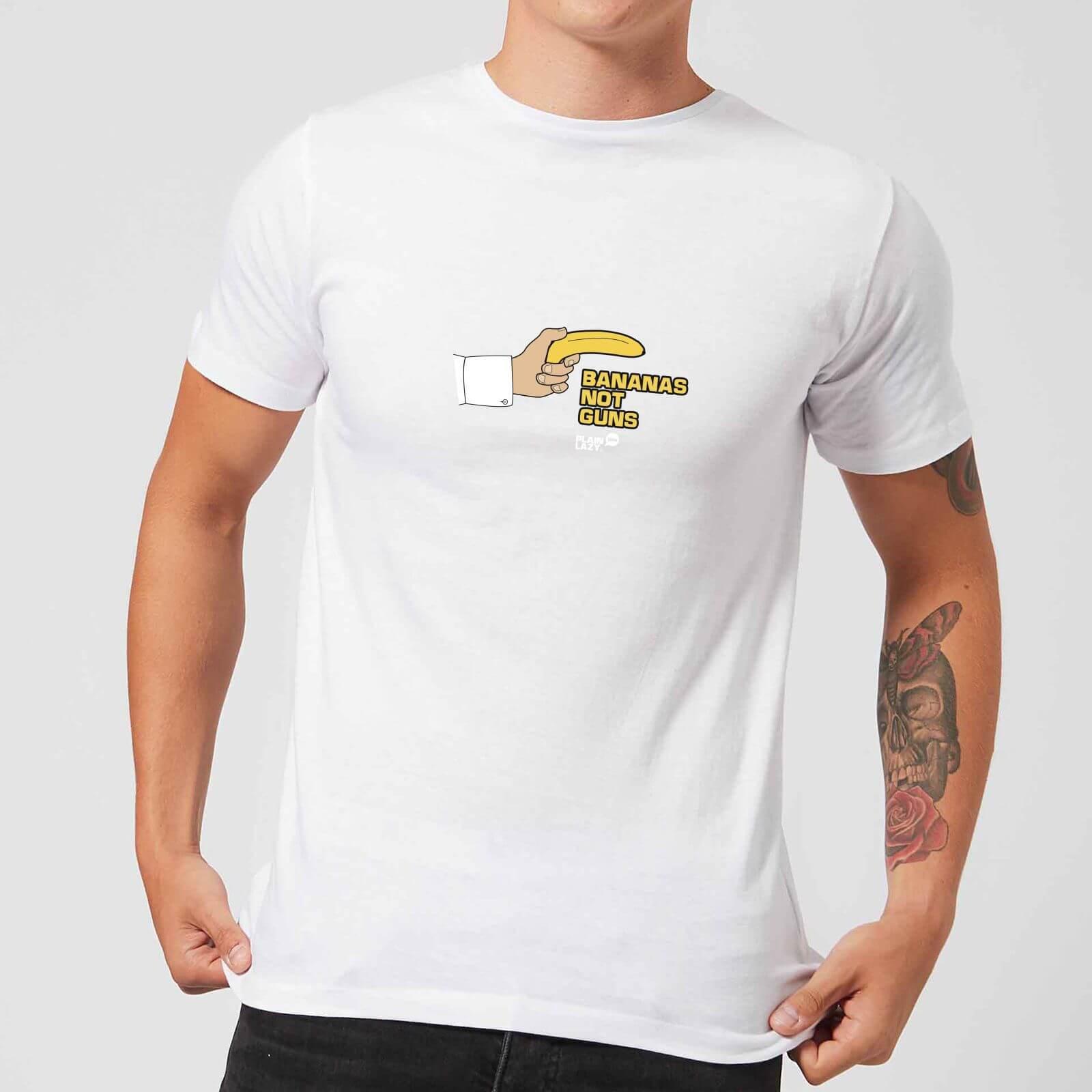 Plain Lazy Bananas Not Guns Men's T-Shirt - White - XS - White