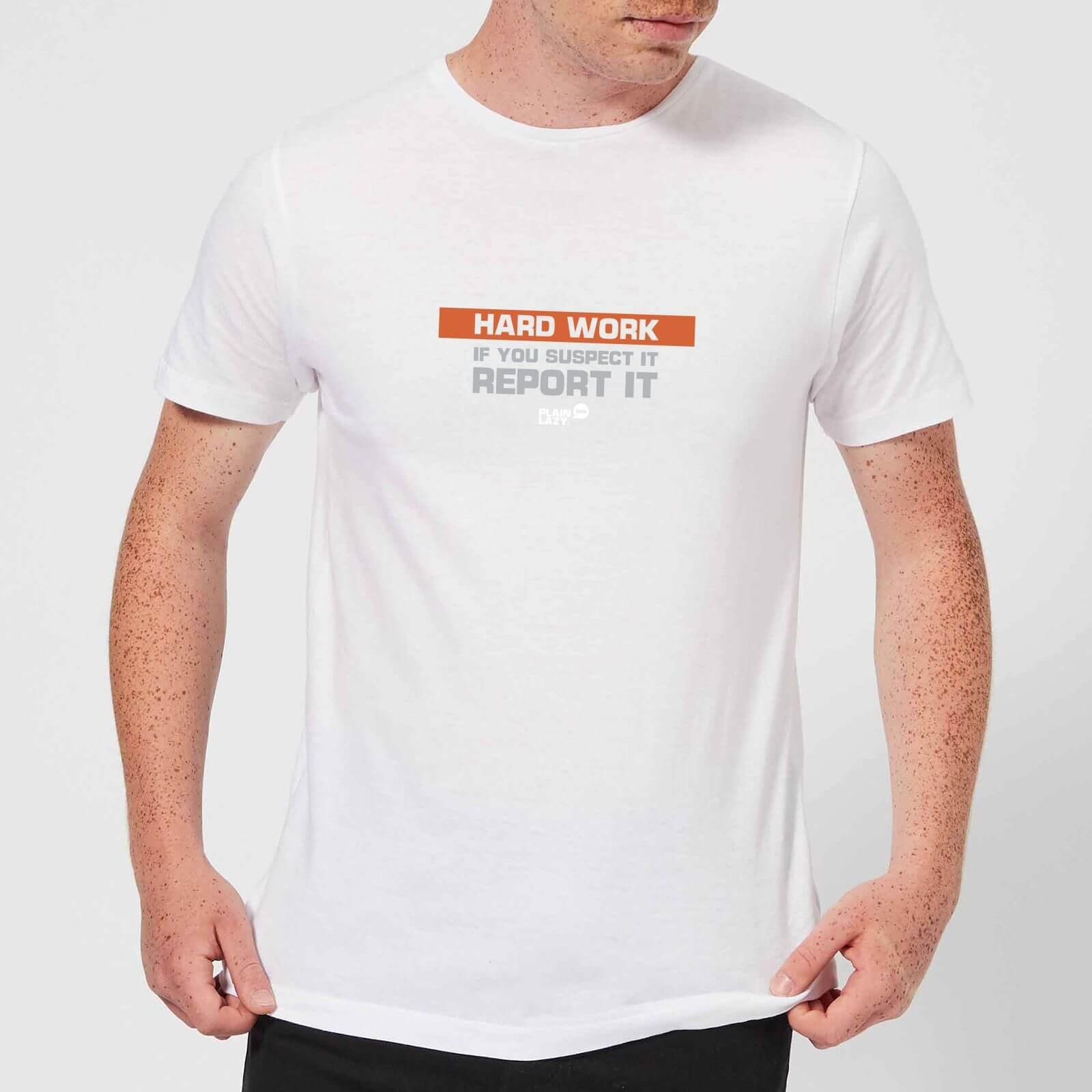 Plain Lazy Hard Work Men's T-Shirt - White - XS - White