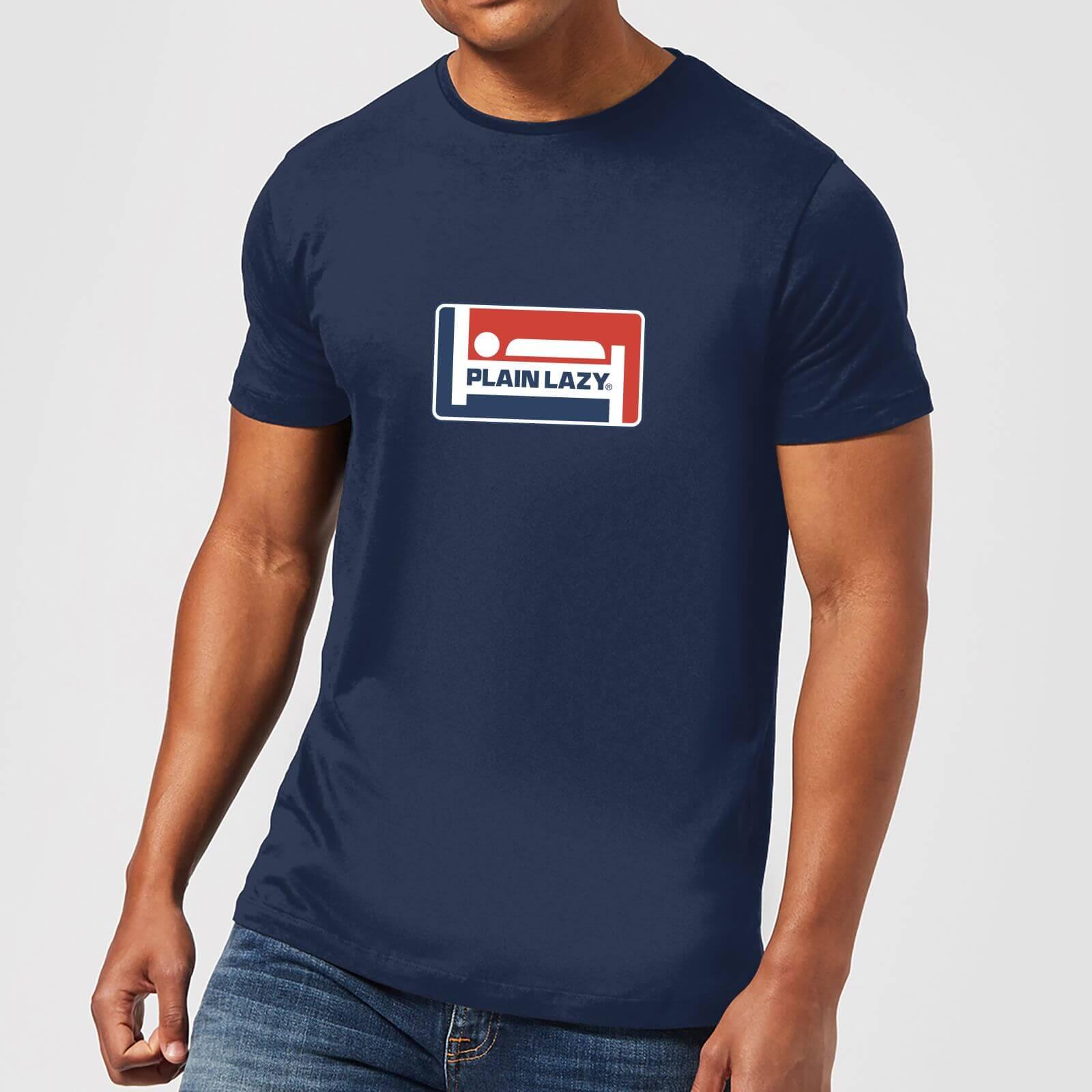 Plain Lazy Logo Print Men's T-Shirt - Navy - XS - Navy