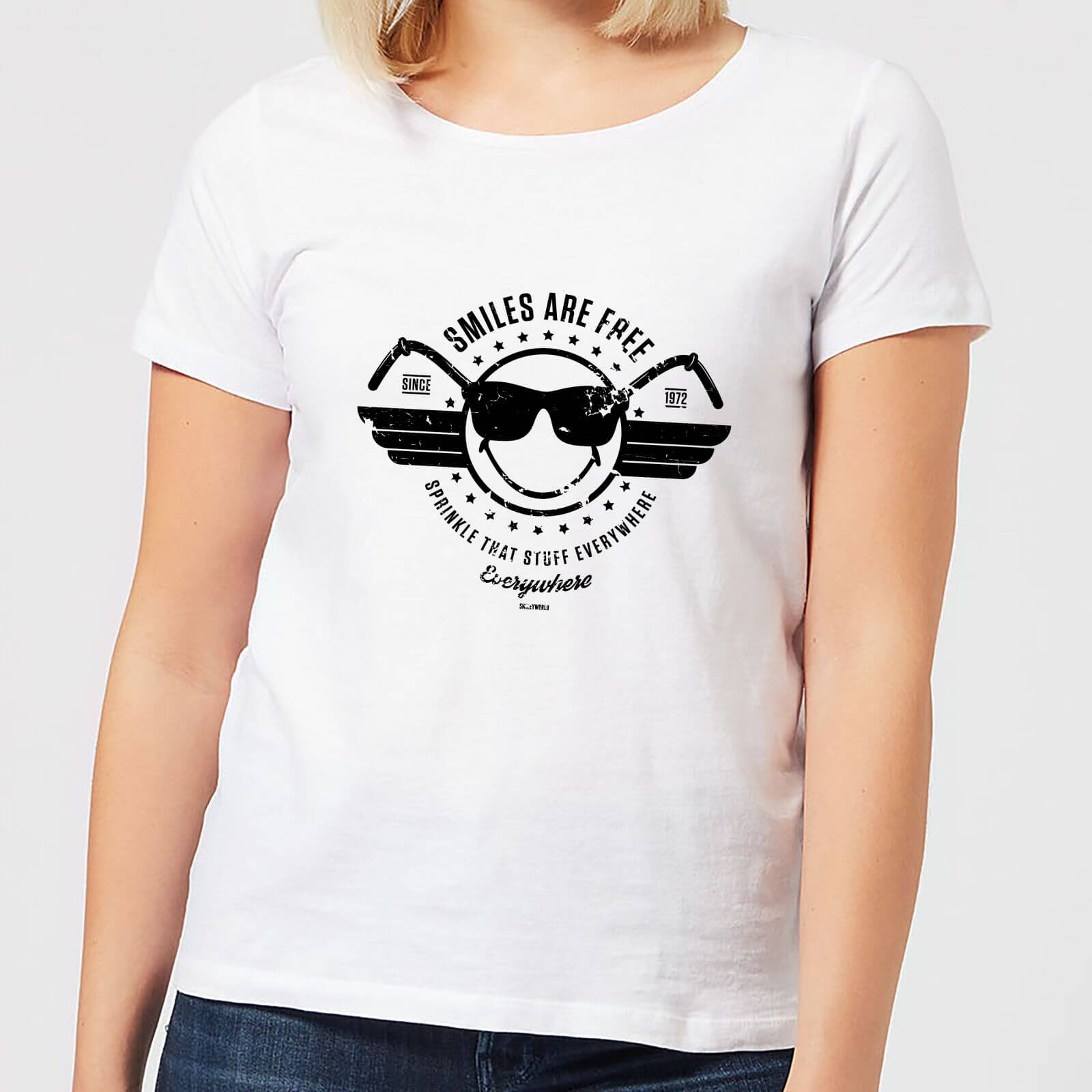 Smiley Smiles Are Free Women's T-Shirt - White - L - Weiß