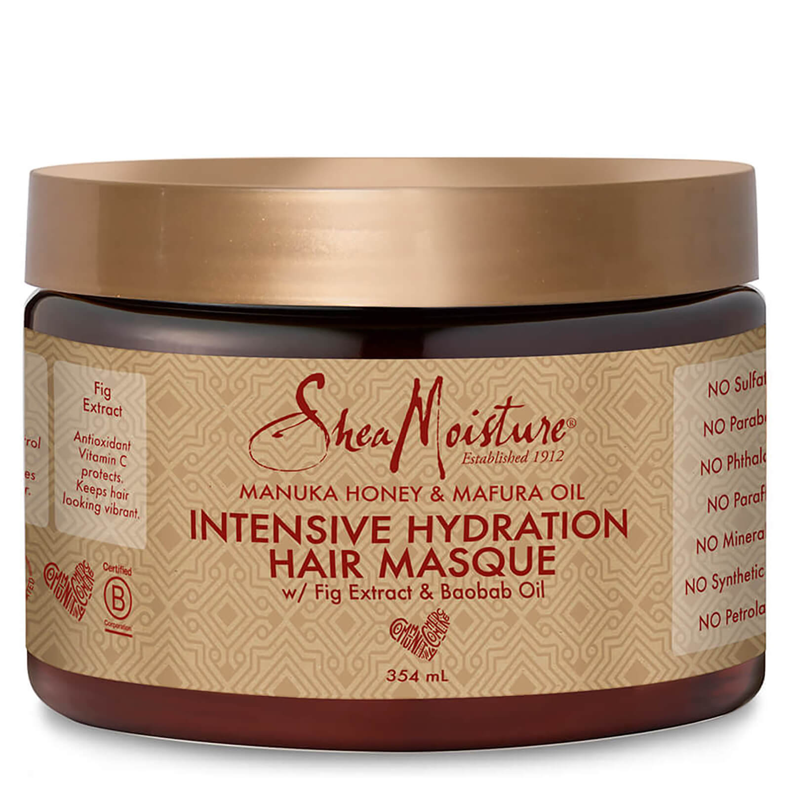 shea moisture manuka honey & mafura oil intensive hydration hair masque 354ml