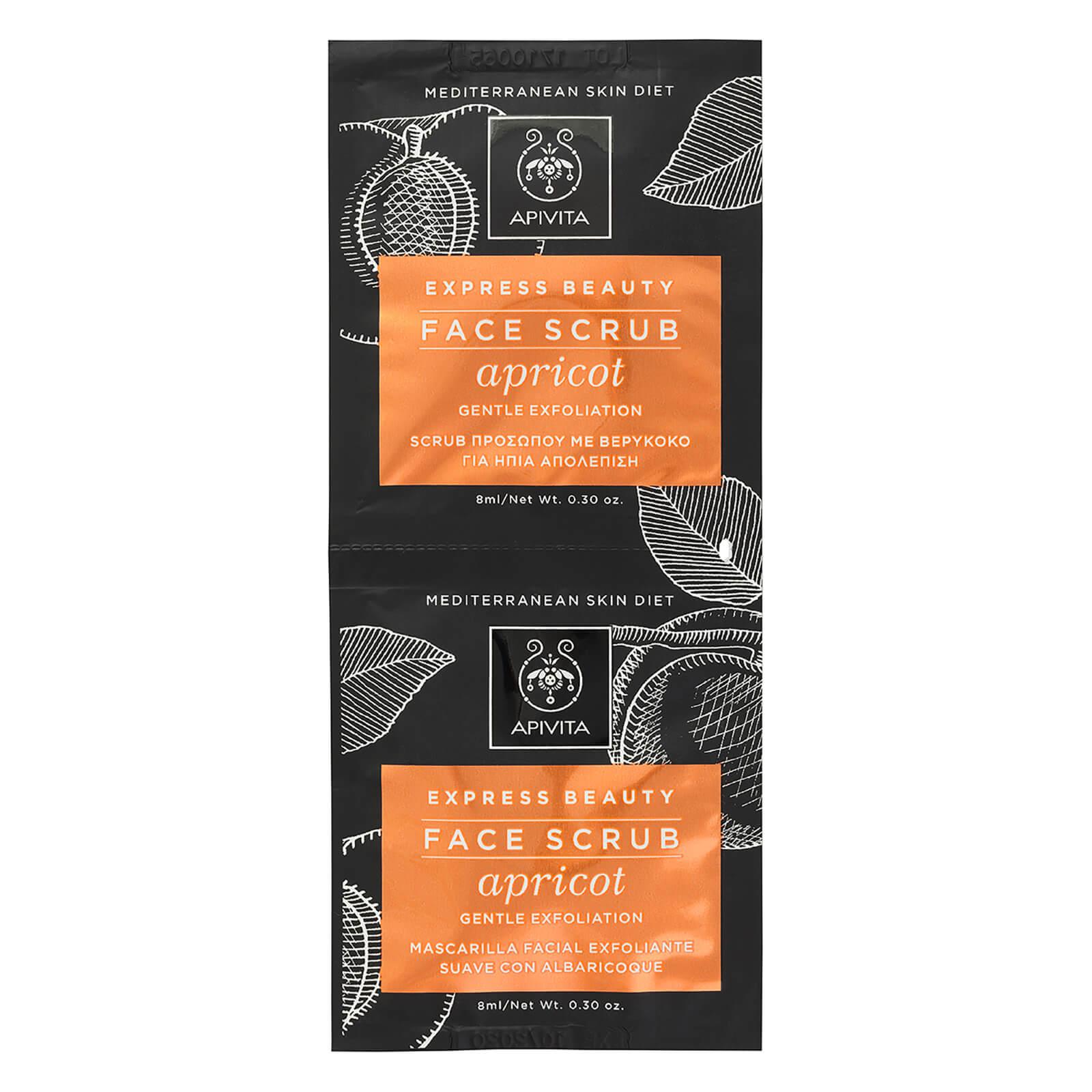 APIVITA Express Face Scrub for Gentle Exfoliation - Apricot 2x8ml