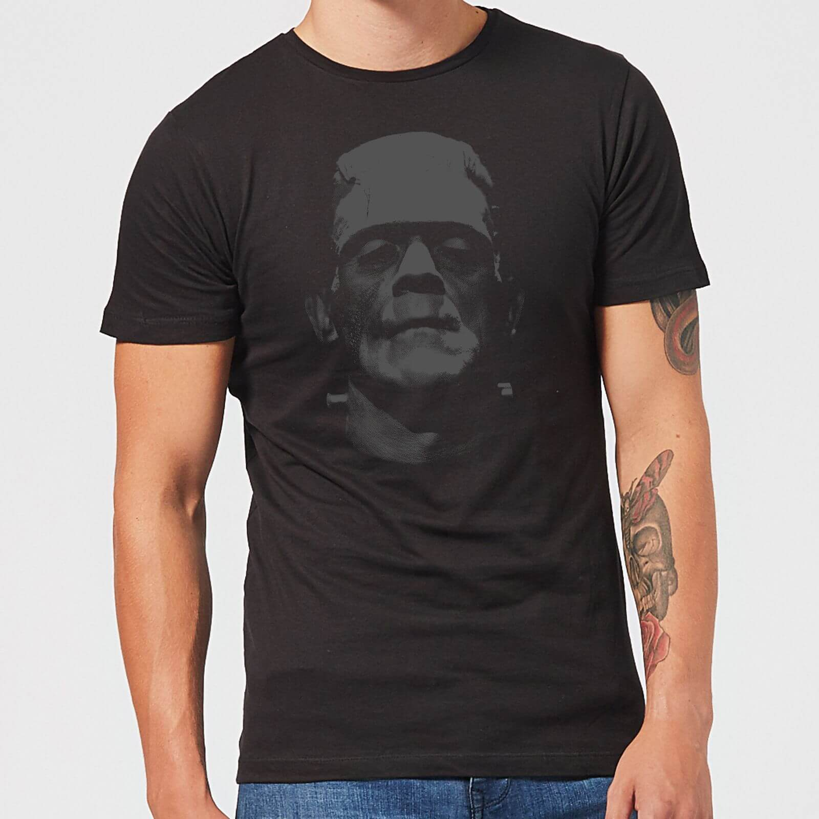 Universal Monsters Frankenstein Black and White Men's T-Shirt - Black - S - Black