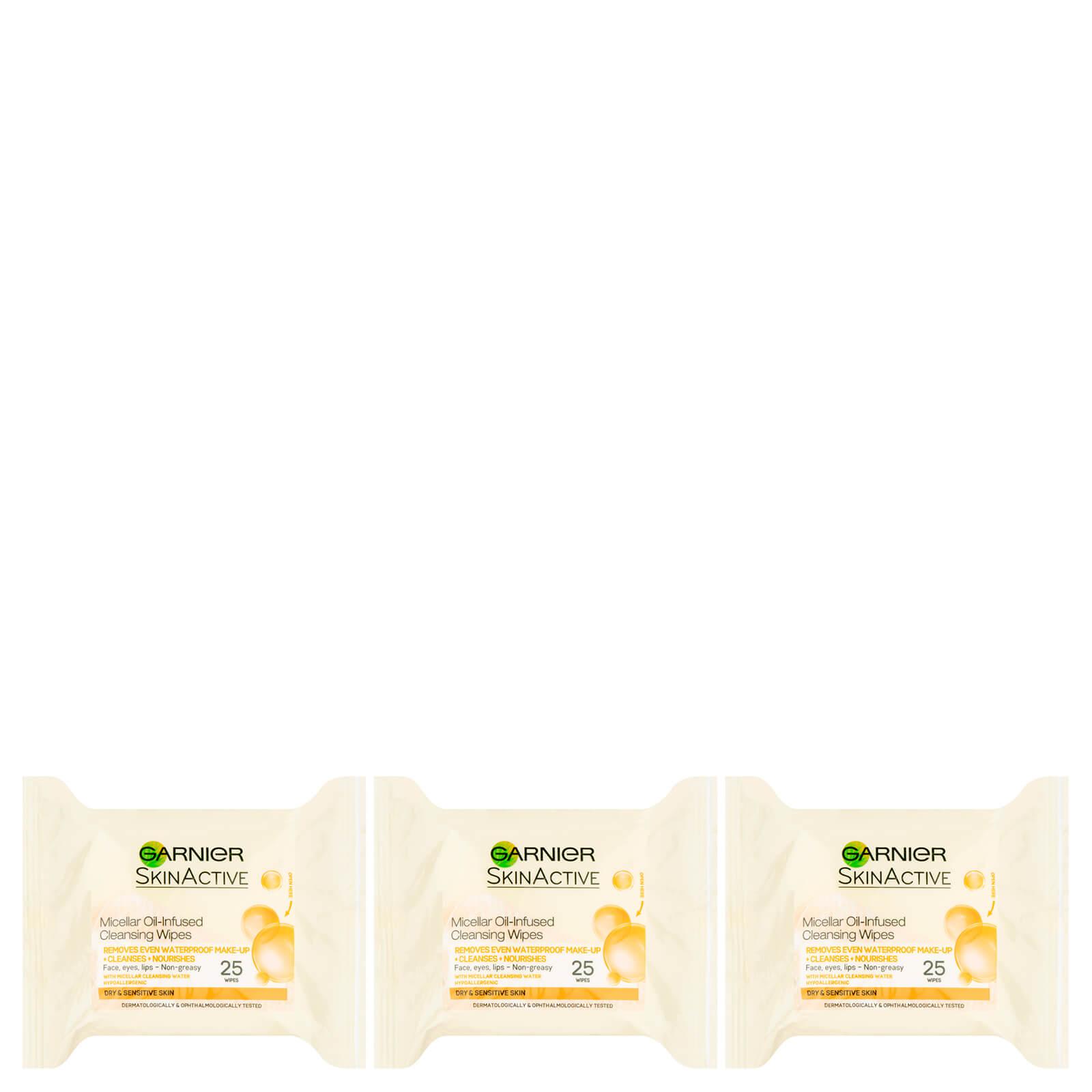 Купить Очищающие мицеллярные салфетки с маслами Garnier Micellar Oil-Infused Cleansing Face Wipes - 25 салфеток (3 уп. в наборе)