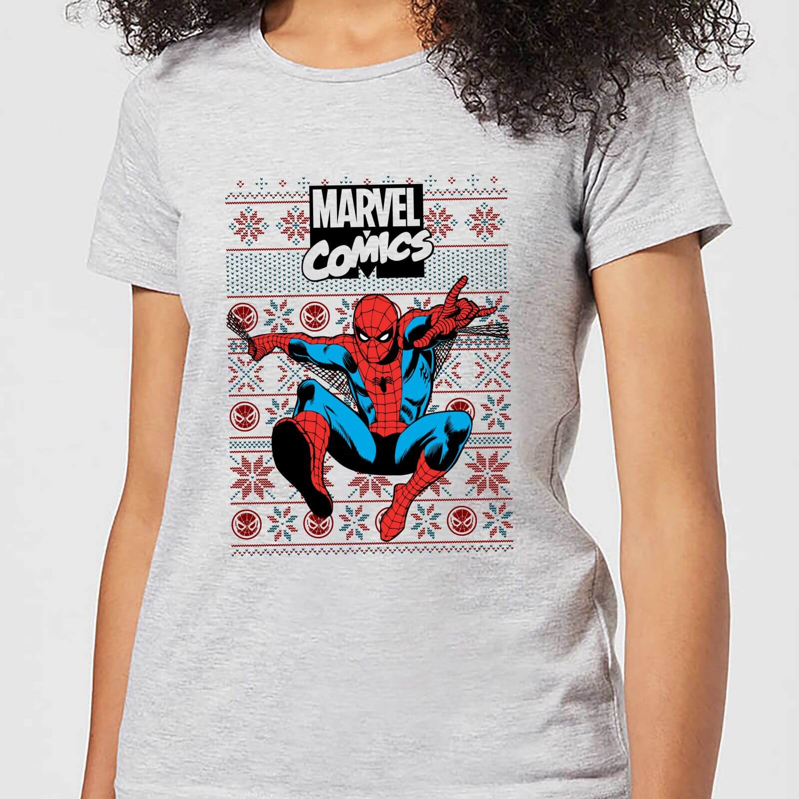 Marvel Avengers Classic Spider Man Womens Christmas T Shirt   Grey   S   Grey