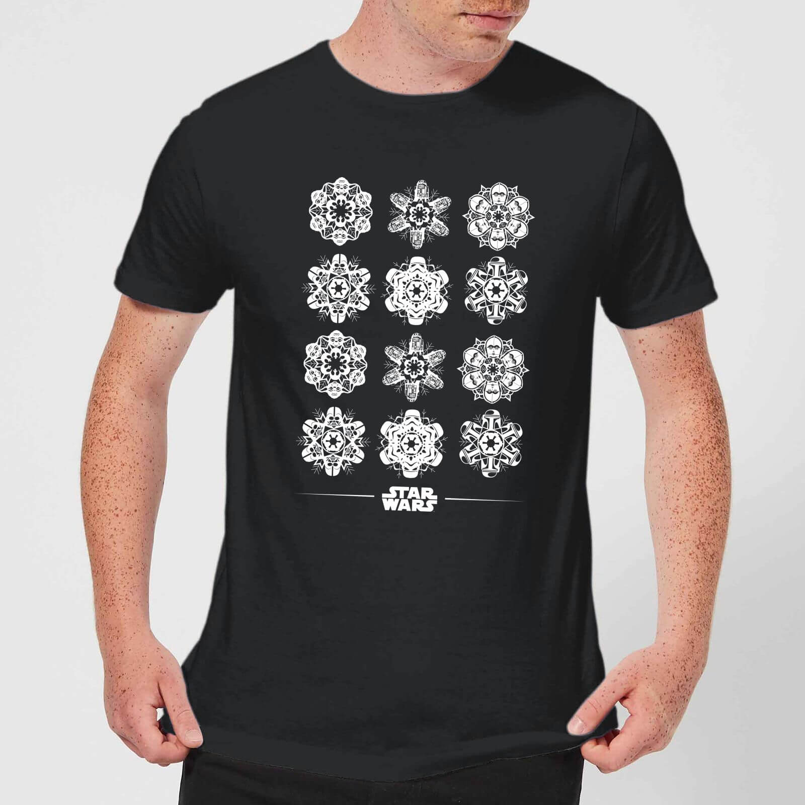 Star Wars Snowflake Men's Christmas T-Shirt - Black - 3XL - Black