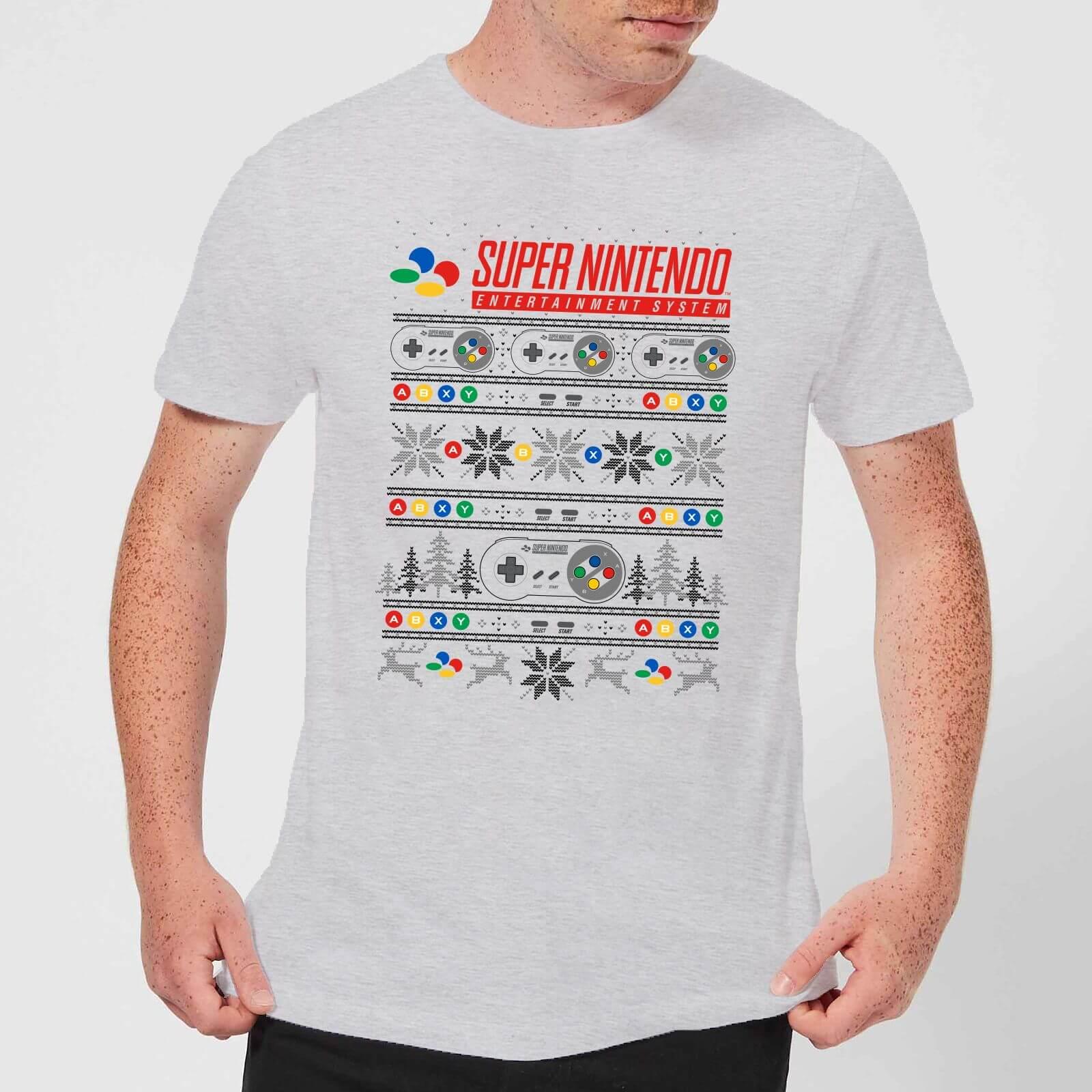 Image of T-Shirt Nintendo SNES Pattern Christmas - Grigio - Uomo - XXL