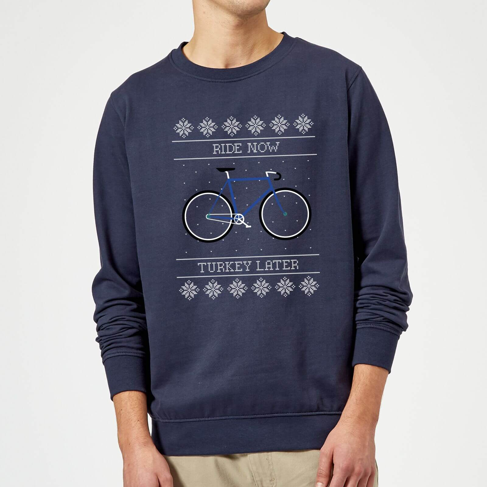 Ride Now  Turkey Later Christmas Sweatshirt - Navy - M - Navy