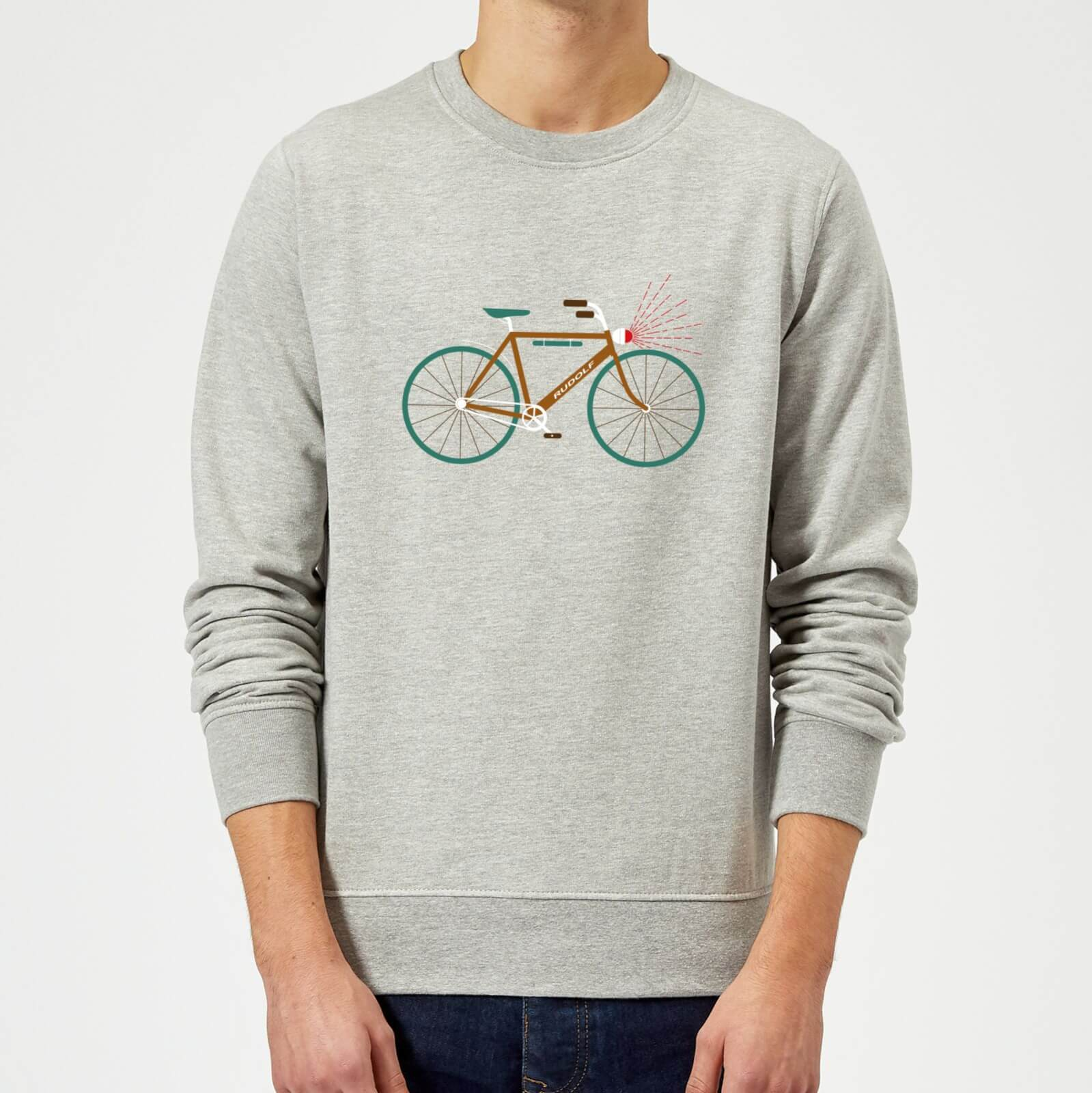 Rudolph Bike Christmas Sweatshirt - Grey - XL - Grey