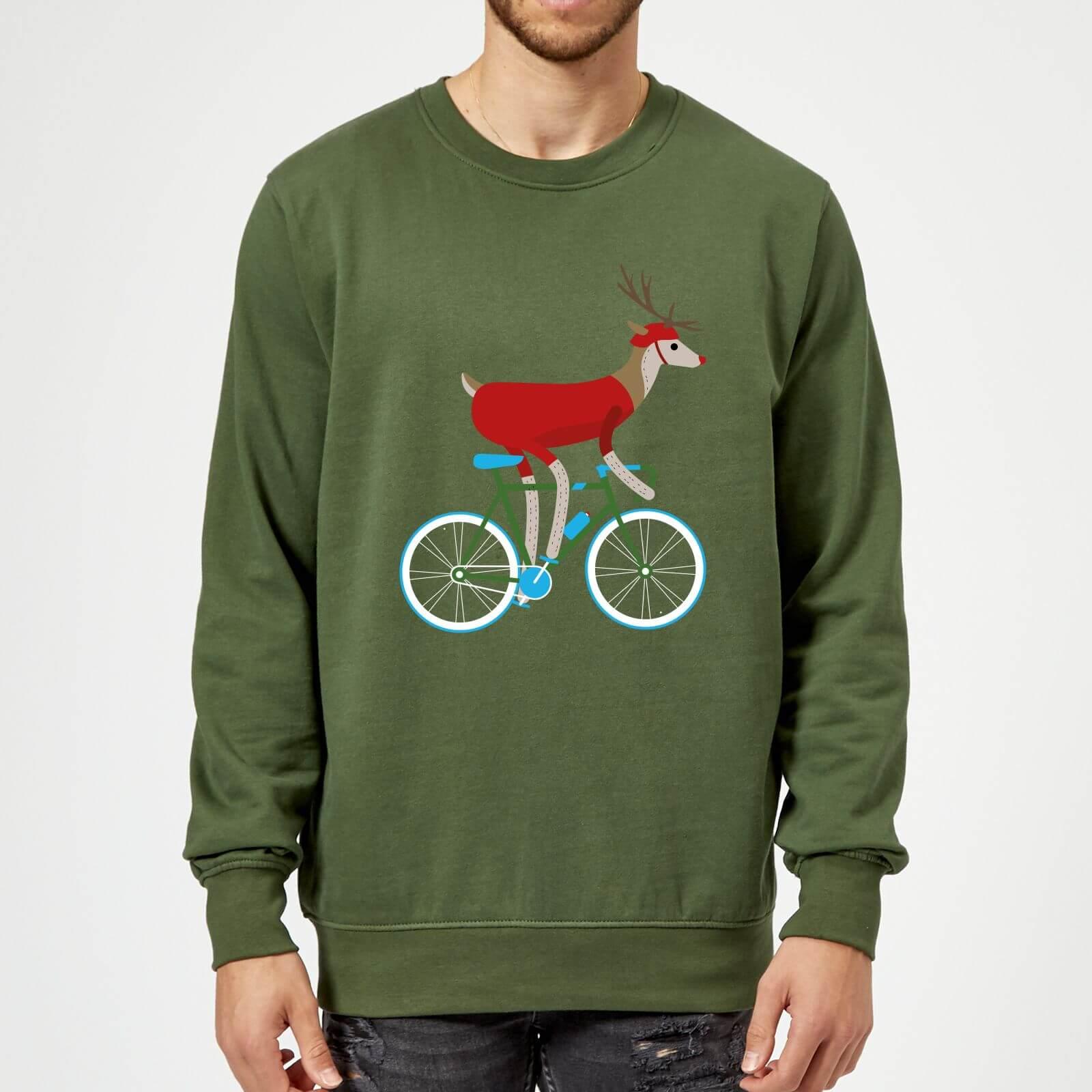 Biking Reindeer Christmas Sweatshirt - Forest Green - S - Forest Green
