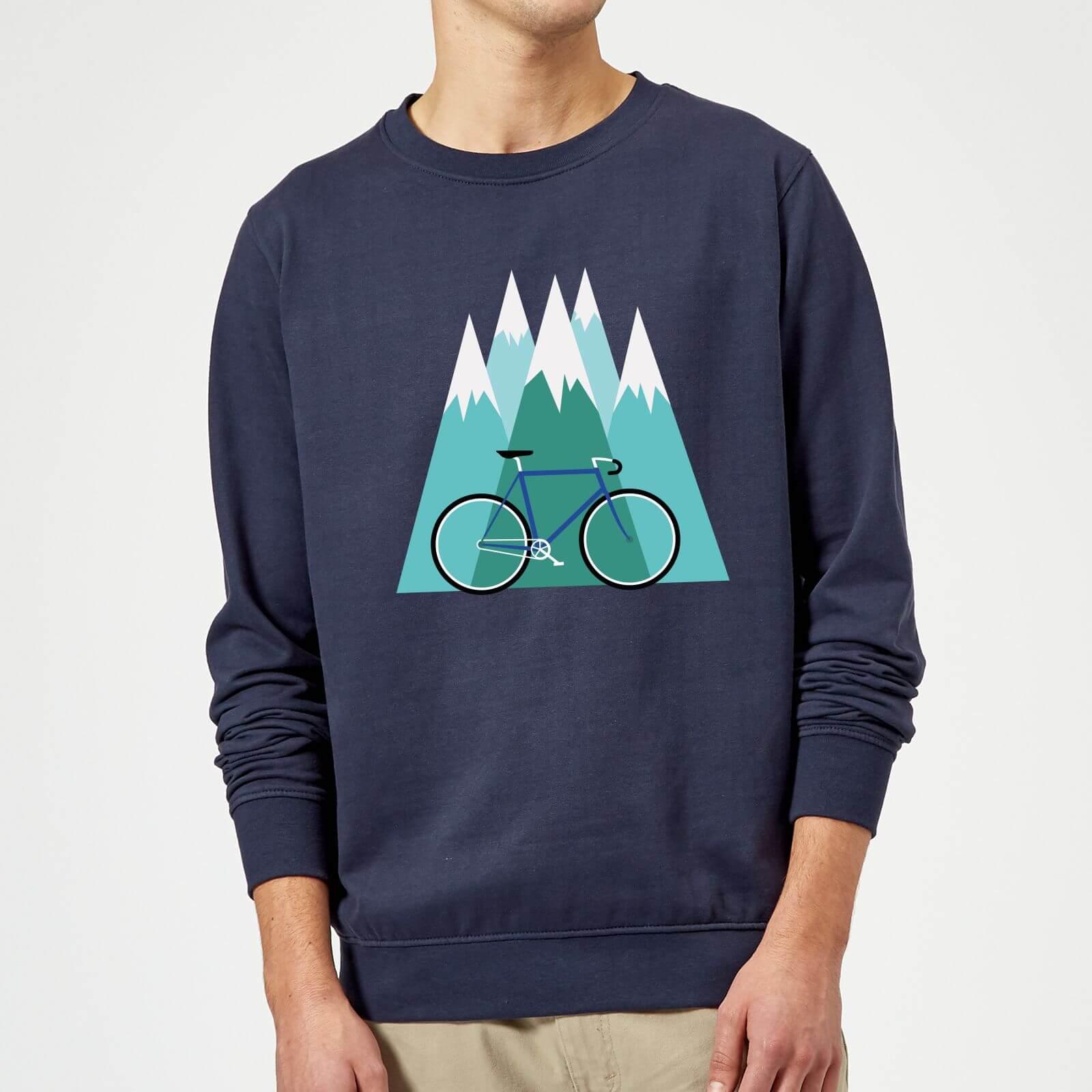 Bike And Mountains Christmas Sweatshirt - Navy - Xl - Navy