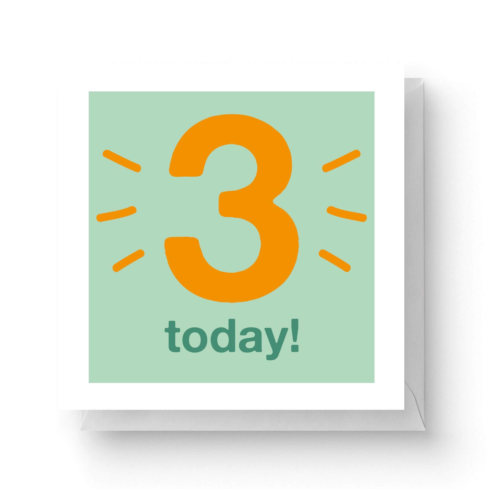 Image of Three Today Square Greetings Card (14.8cm x 14.8cm)
