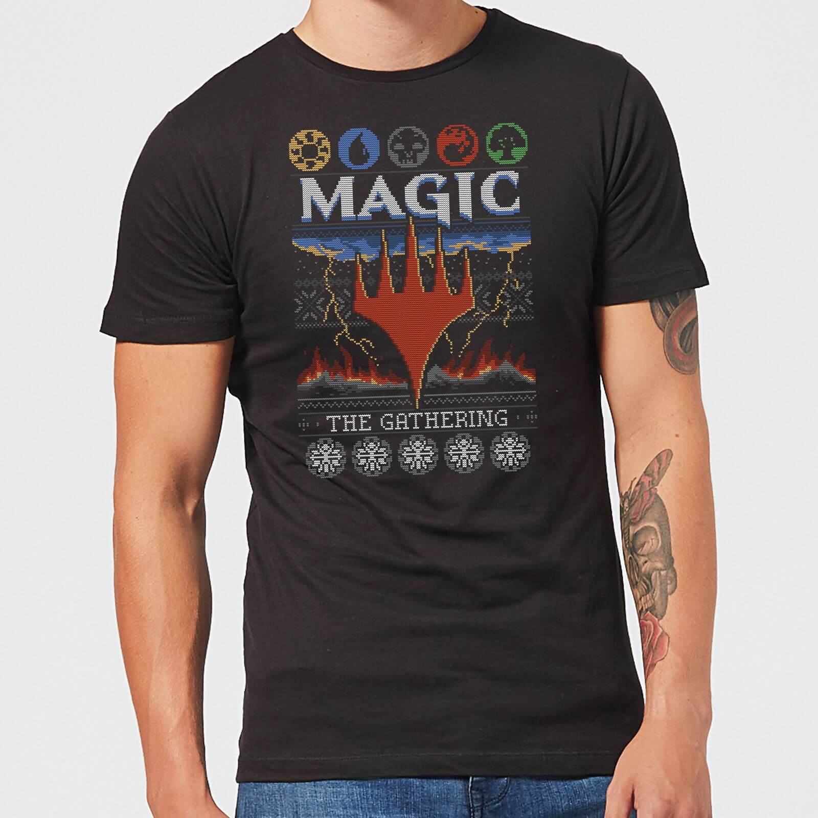 Magic: The Gathering Colours Of Magic Knit Herren Christmas T-Shirt - Schwarz - XS - Schwarz