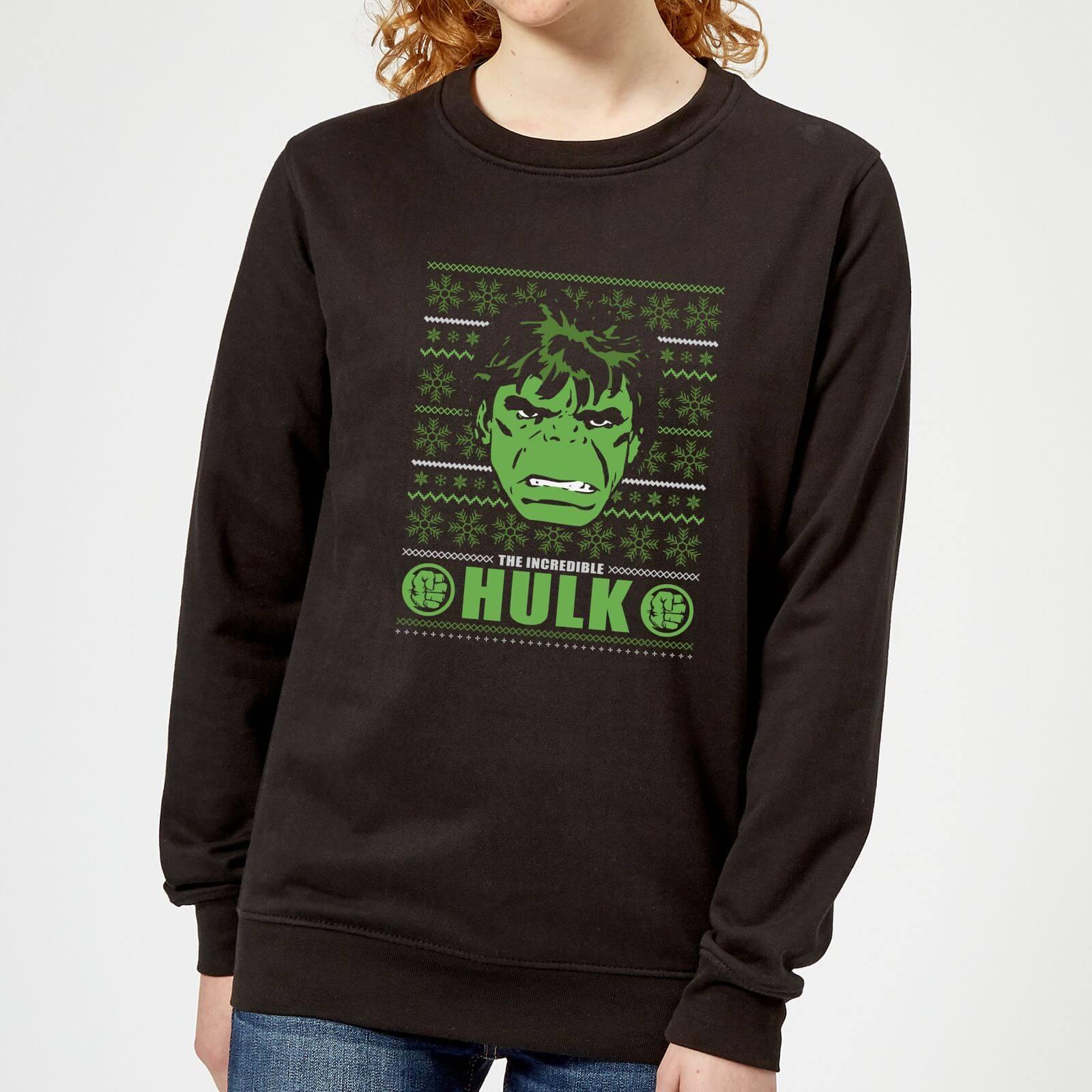 Marvel Hulk Face Women's Christmas Sweatshirt - Black - M - Black