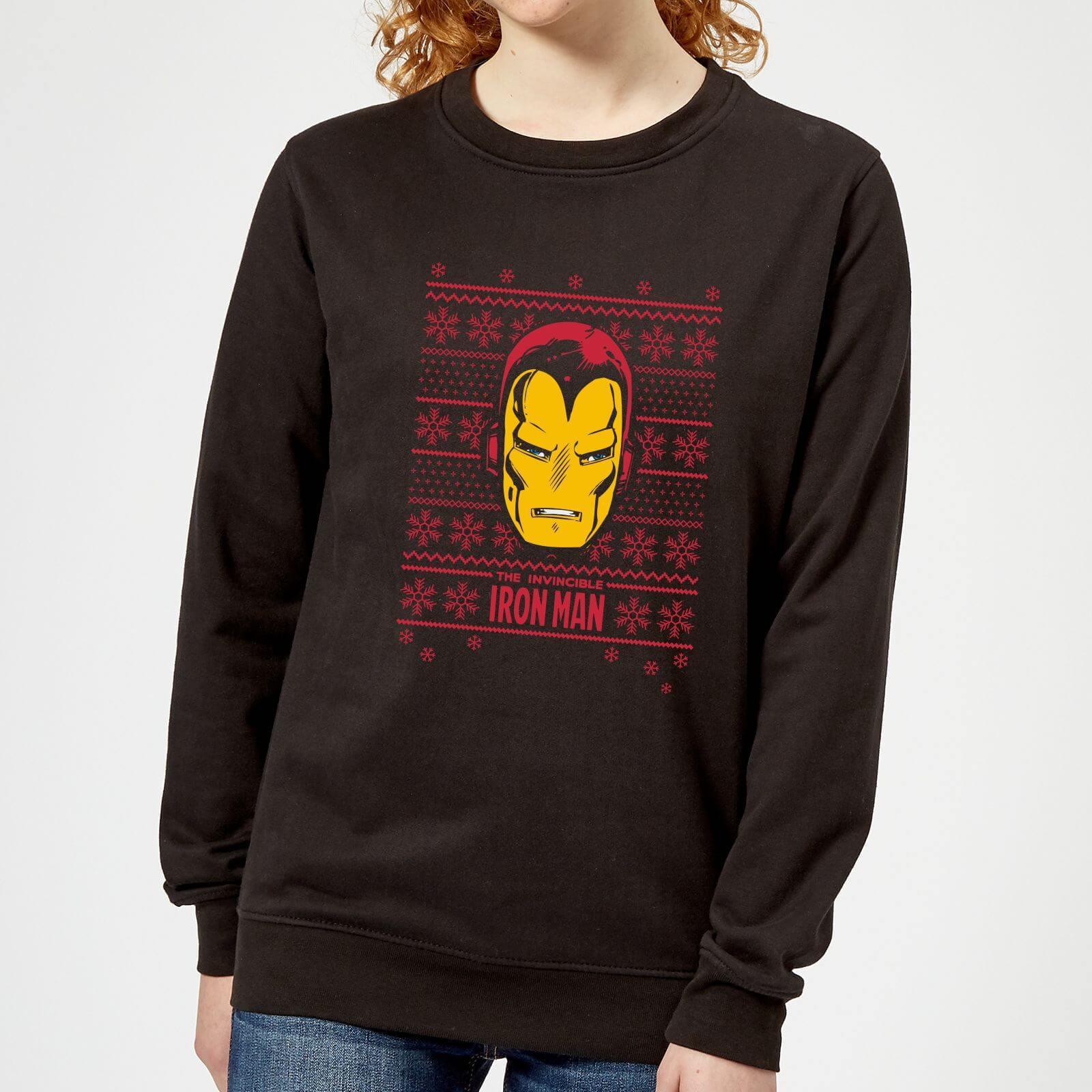 Marvel Iron Man Face Women's Christmas Sweatshirt - Black - XXL - Black