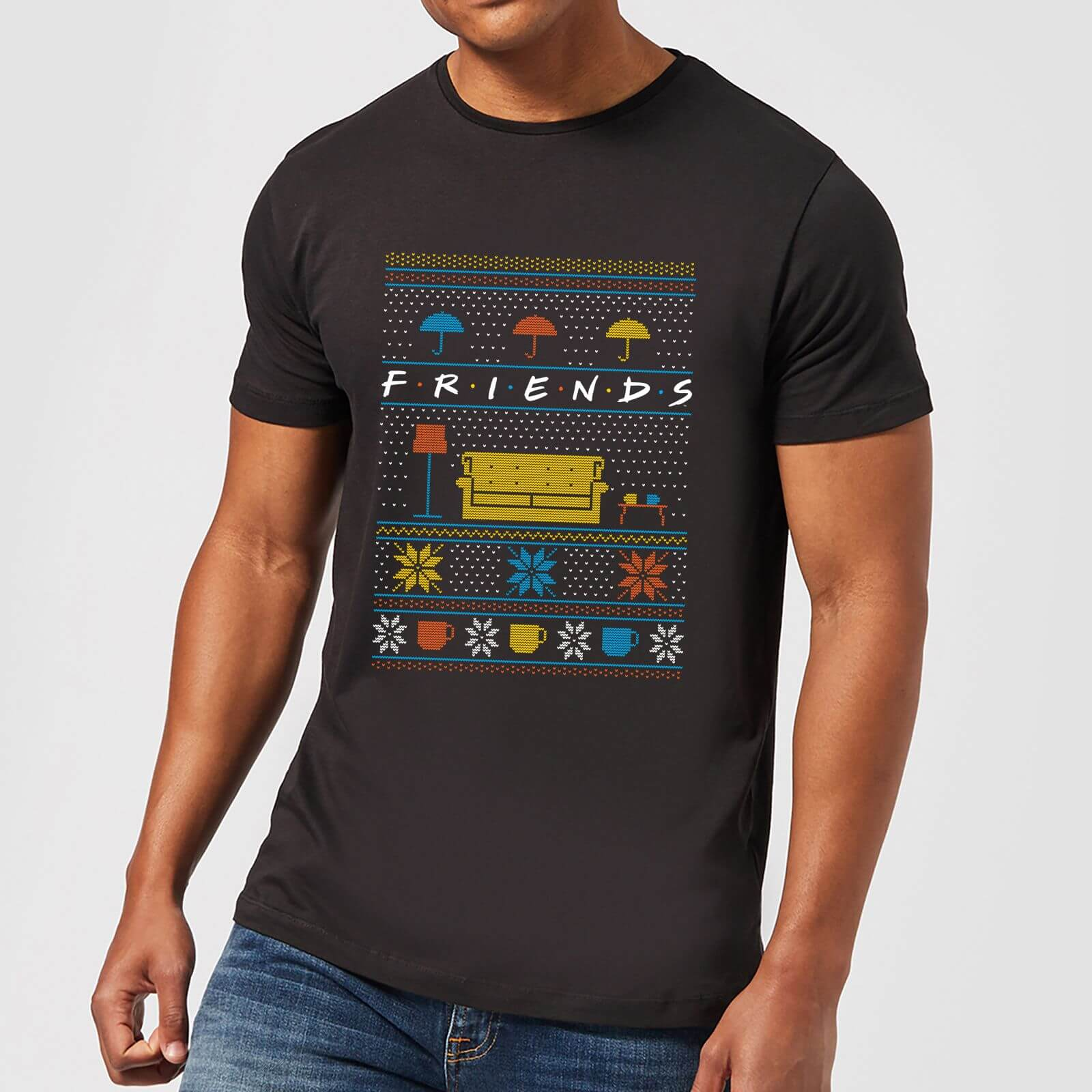 Friends Sofa Knit Herren Christmas T-Shirt - Schwarz - XS - Schwarz