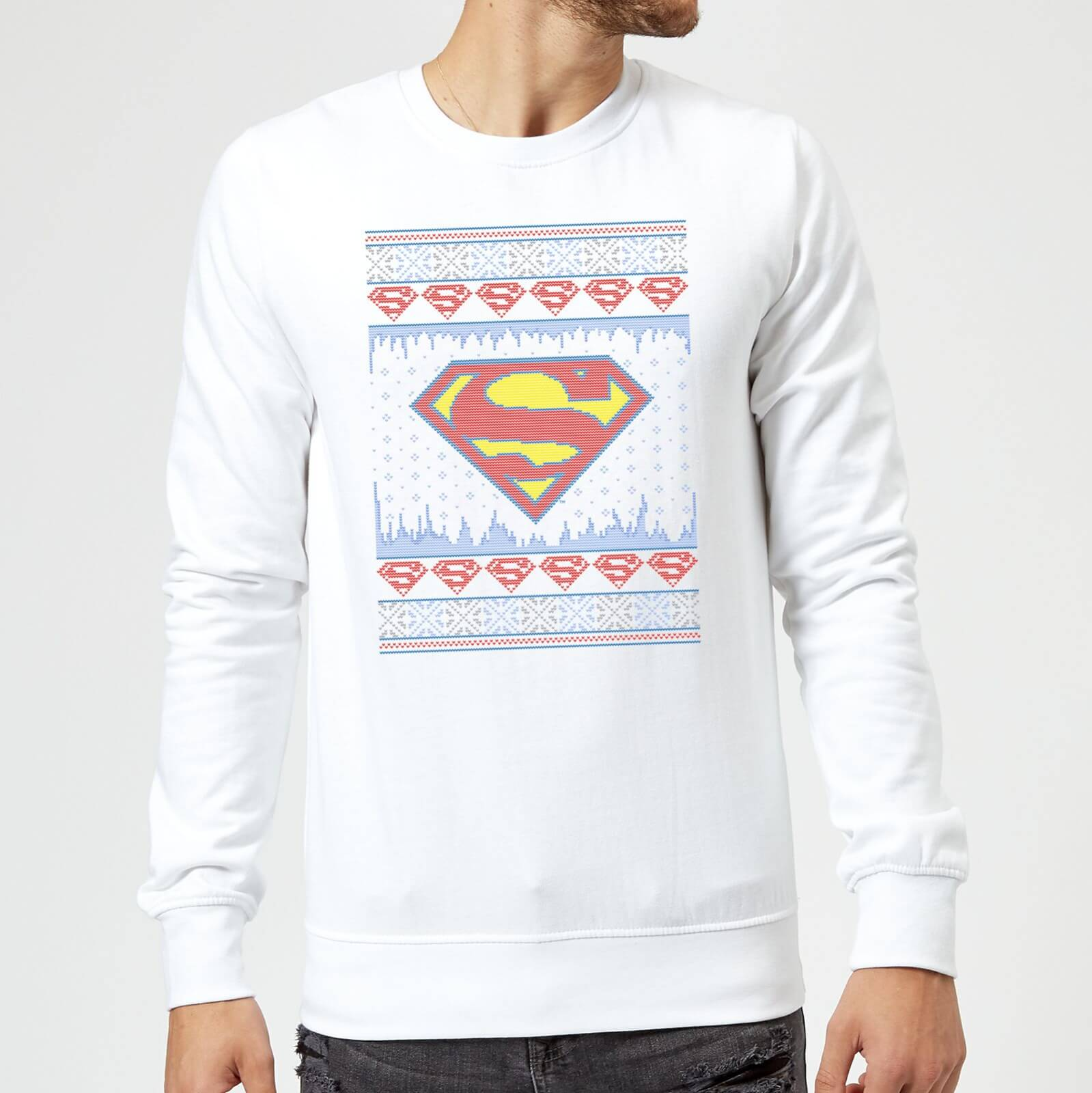DC Supergirl Knit Christmas Sweatshirt - White - M - White