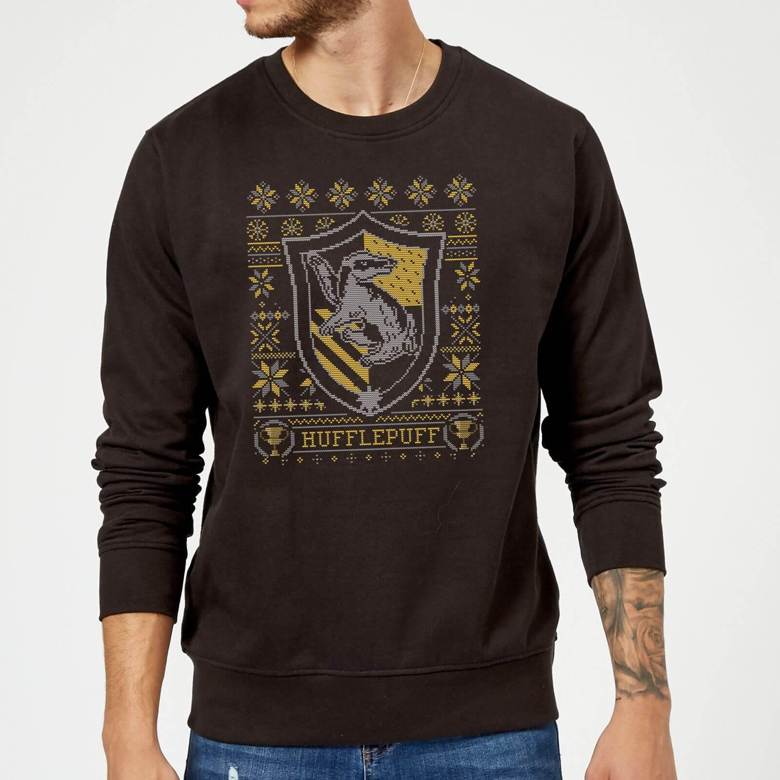 Harry Potter Hufflepuff Crest Christmas Sweater - Black - S - Black