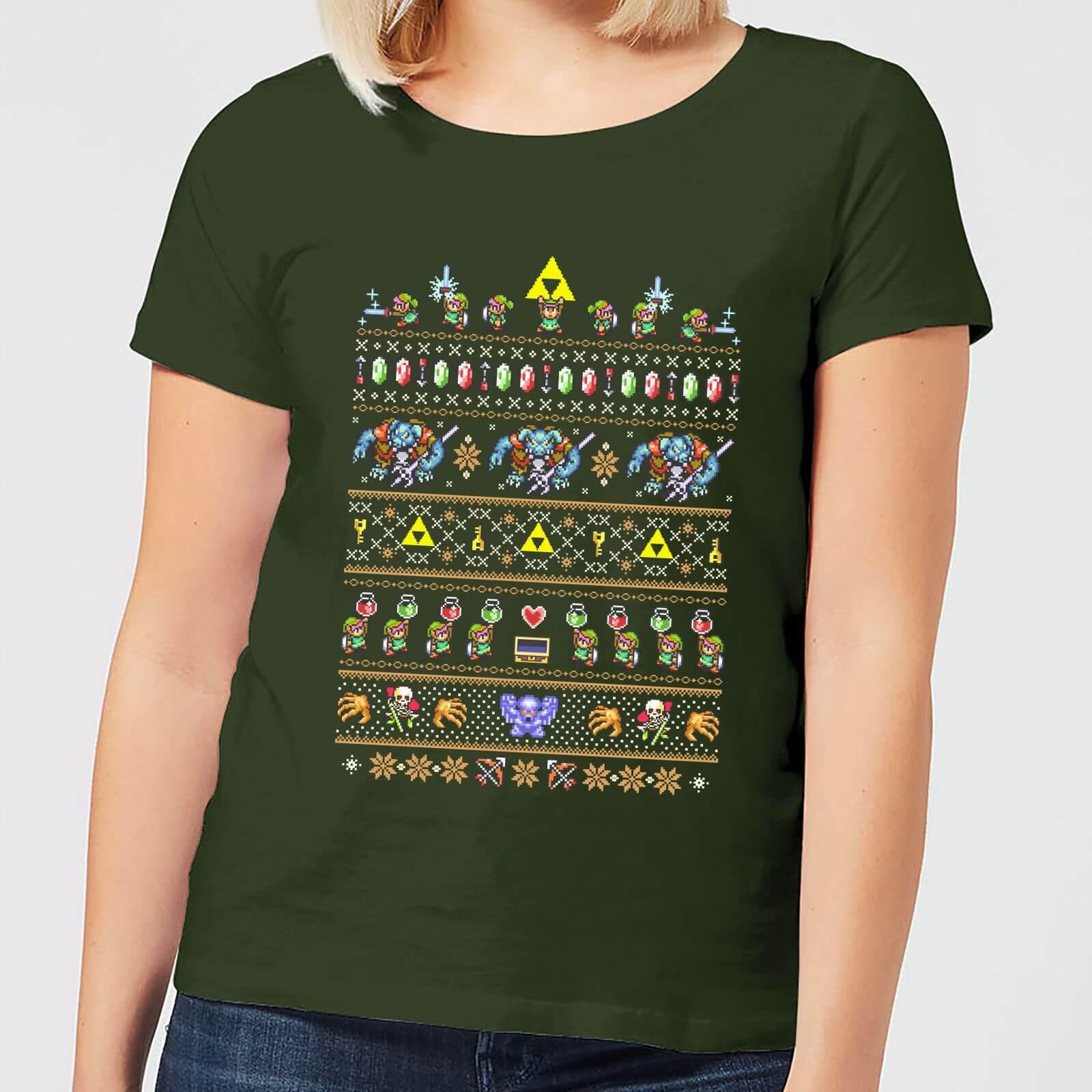 Nintendo Retro Women's Christmas T-Shirt - Forest Green - S - Forest Green