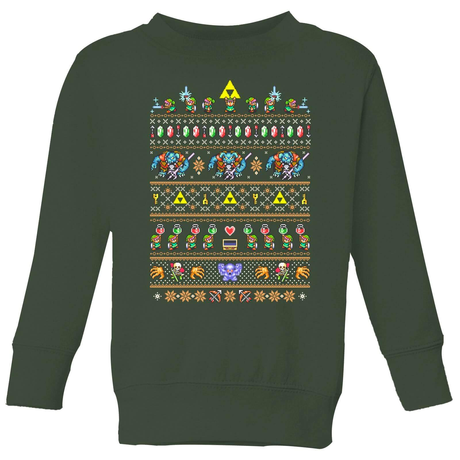Nintendo Super Mario Retro Kid's Christmas Sweatshirt - Forest Green - 11-12 Jahre - Forest Green
