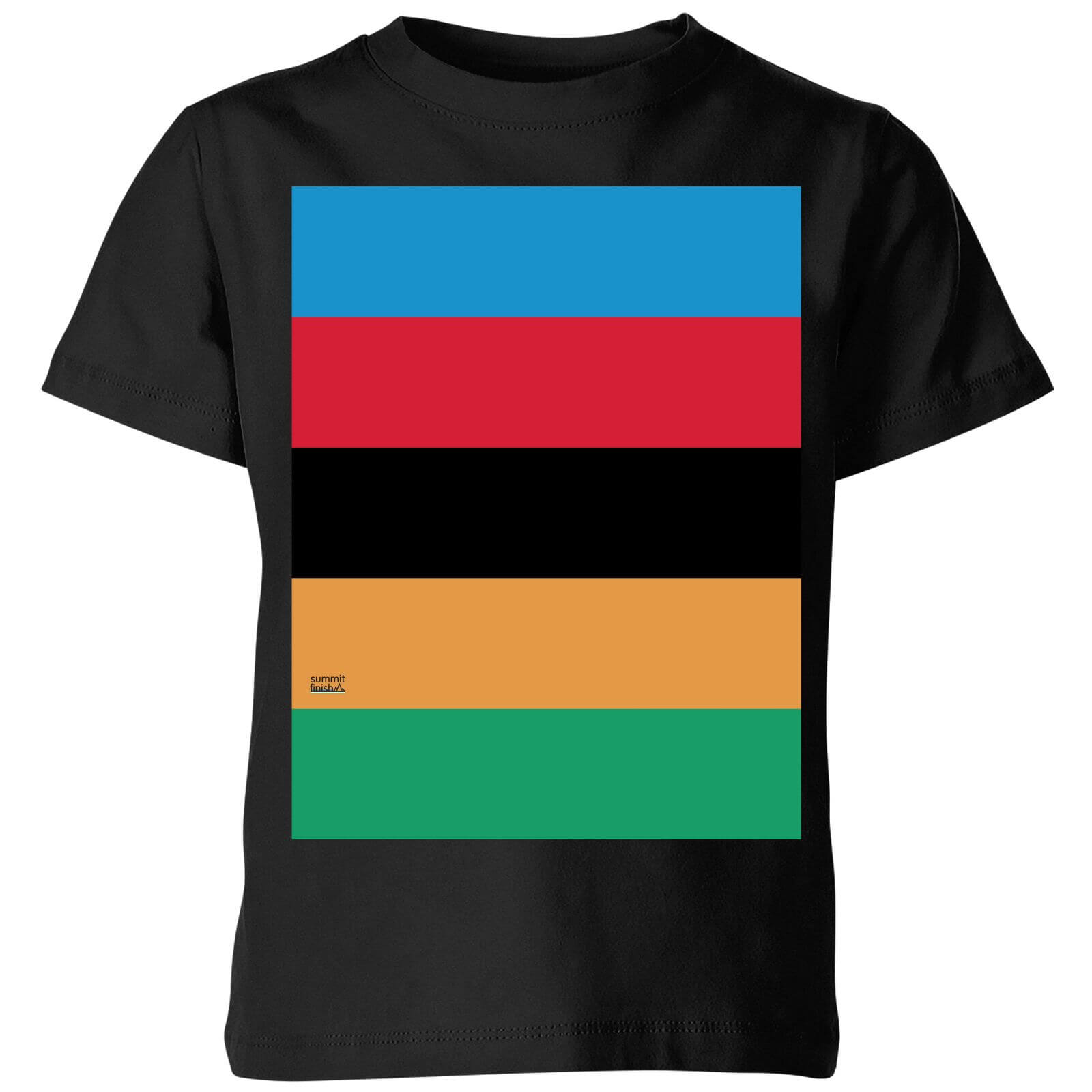 Summit Finish World Champion Stripes Kids' T-Shirt - Black - 5-6 Years - Black