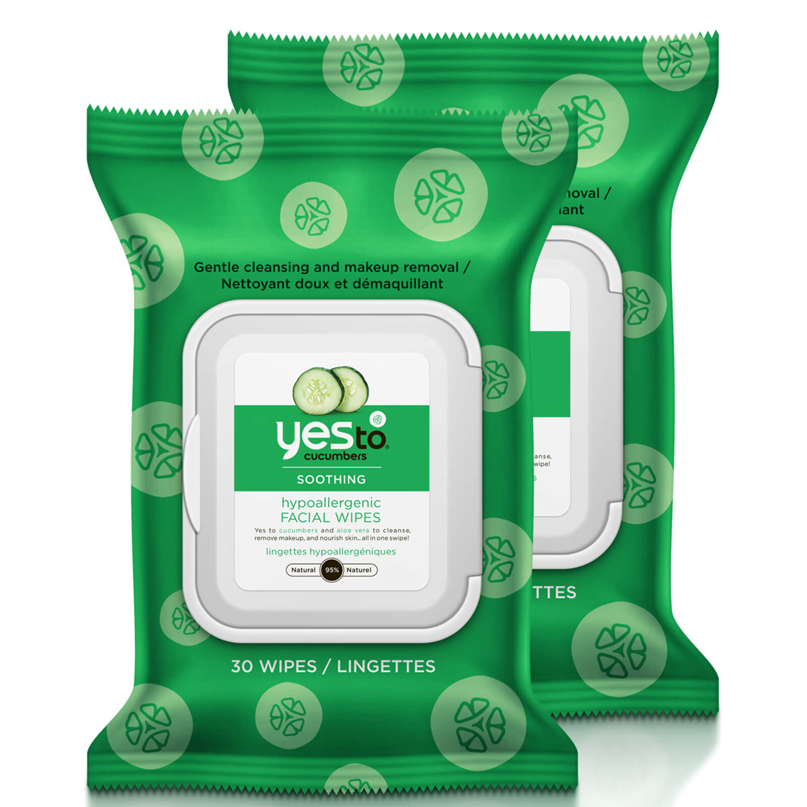 Купить Yes to Cucumber Soothing Hypoallergenic Facial Wipes - 30 Count (2 Pack)