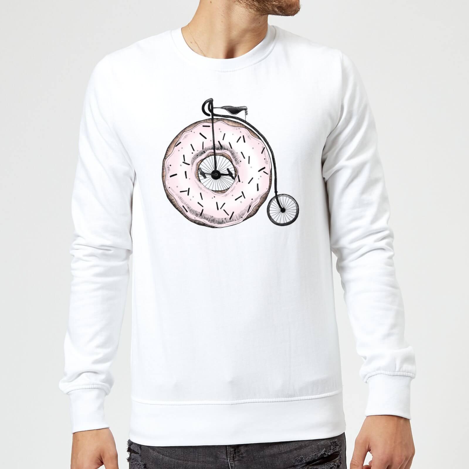 Barlena Donut Ride My Bicycle Sweatshirt   White   M   White