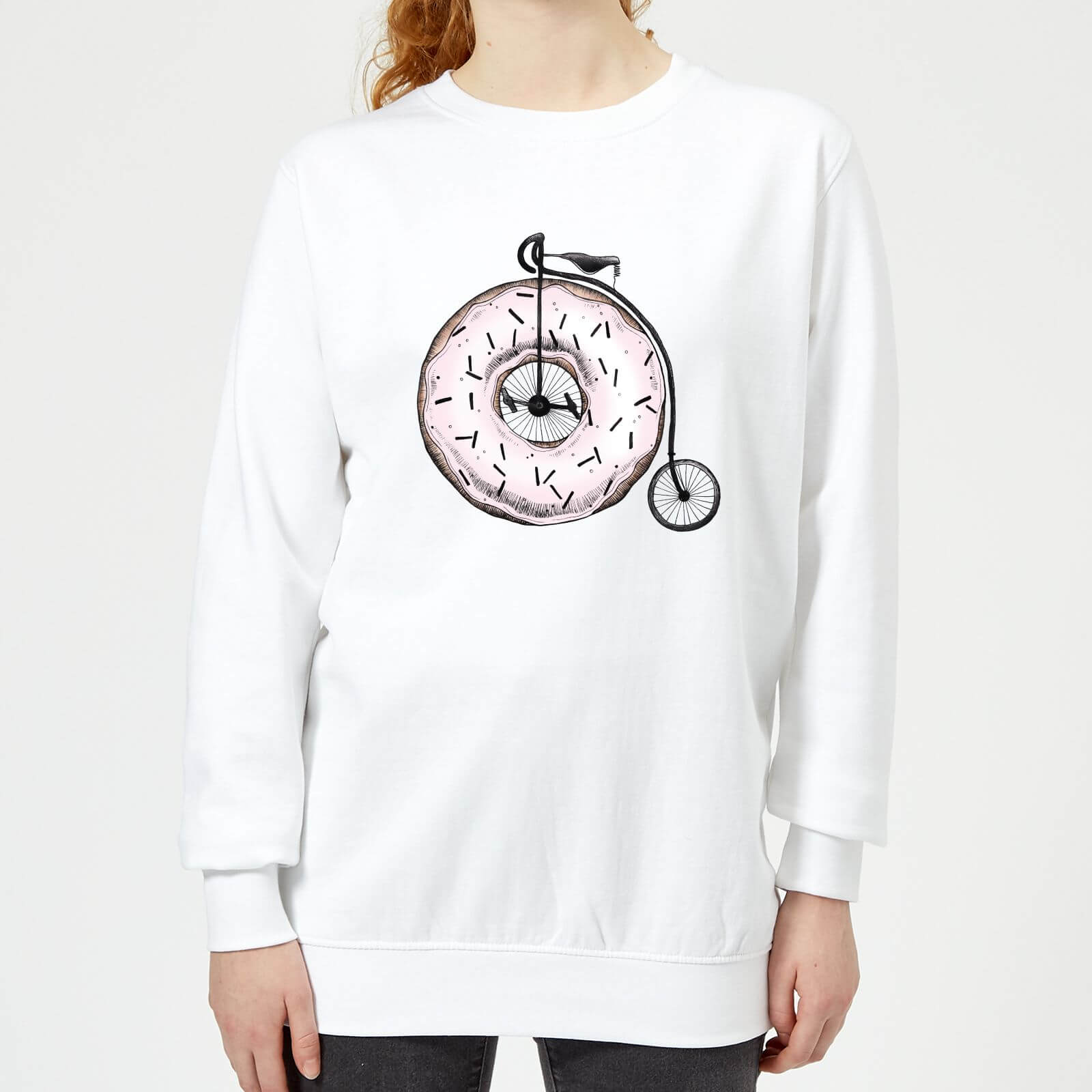 Barlena Donut Ride My Bicycle Womens Sweatshirt   White   XXL   White