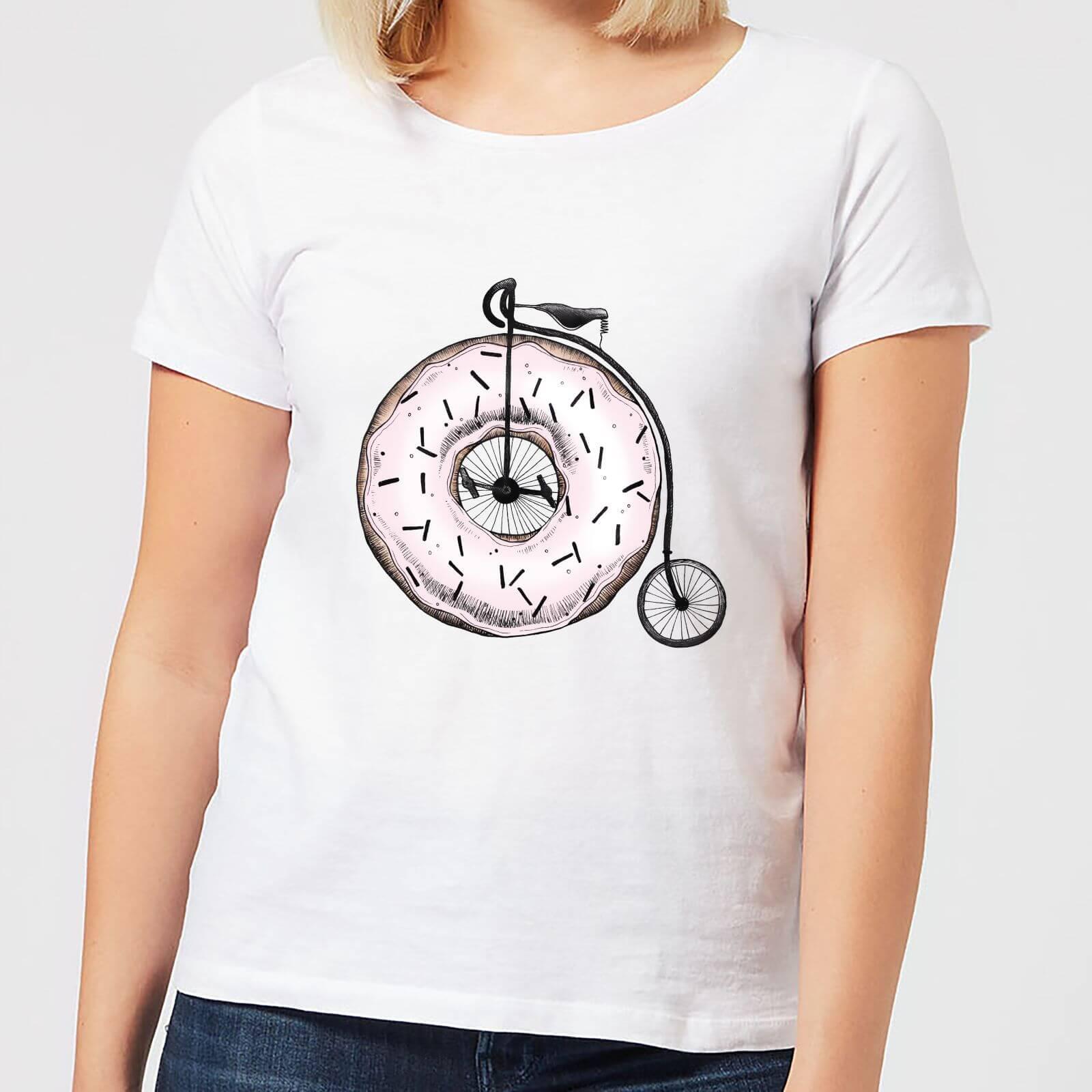 Barlena Donut Ride My Bicycle Womens T Shirt   White   3XL   White
