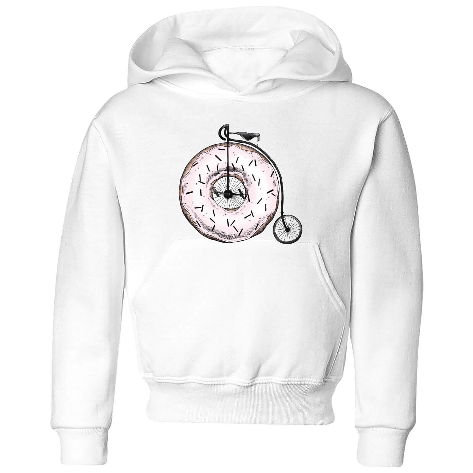 Barlena Donut Ride My Bicycle Kids Hoodie   White   3 4 Years   White