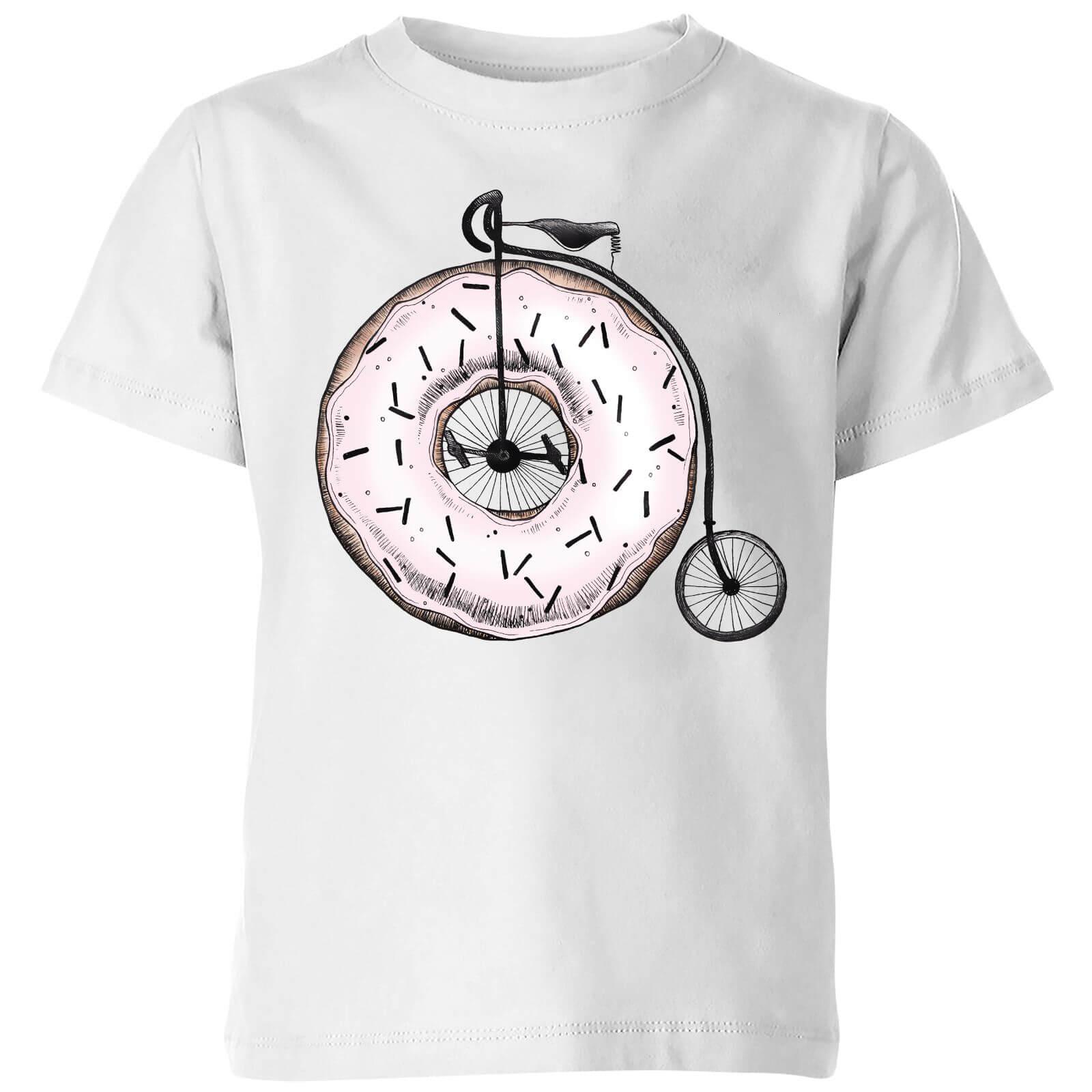 Barlena Donut Ride My Bicycle Kids T-Shirt - White - 11-12 Years - White