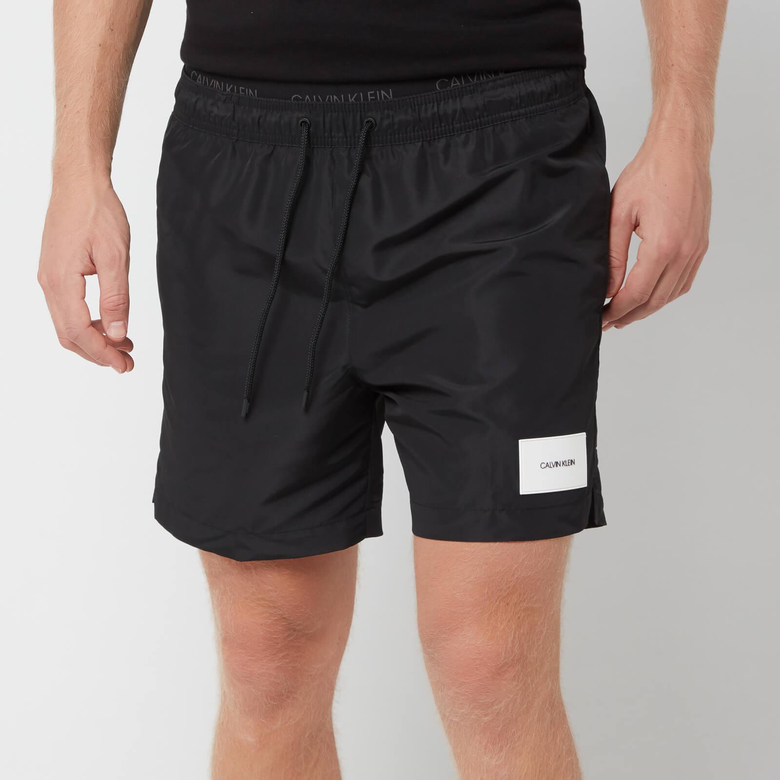Calvin Klein Men's Medium Double Waistband Swim Shorts - Black - M - Black