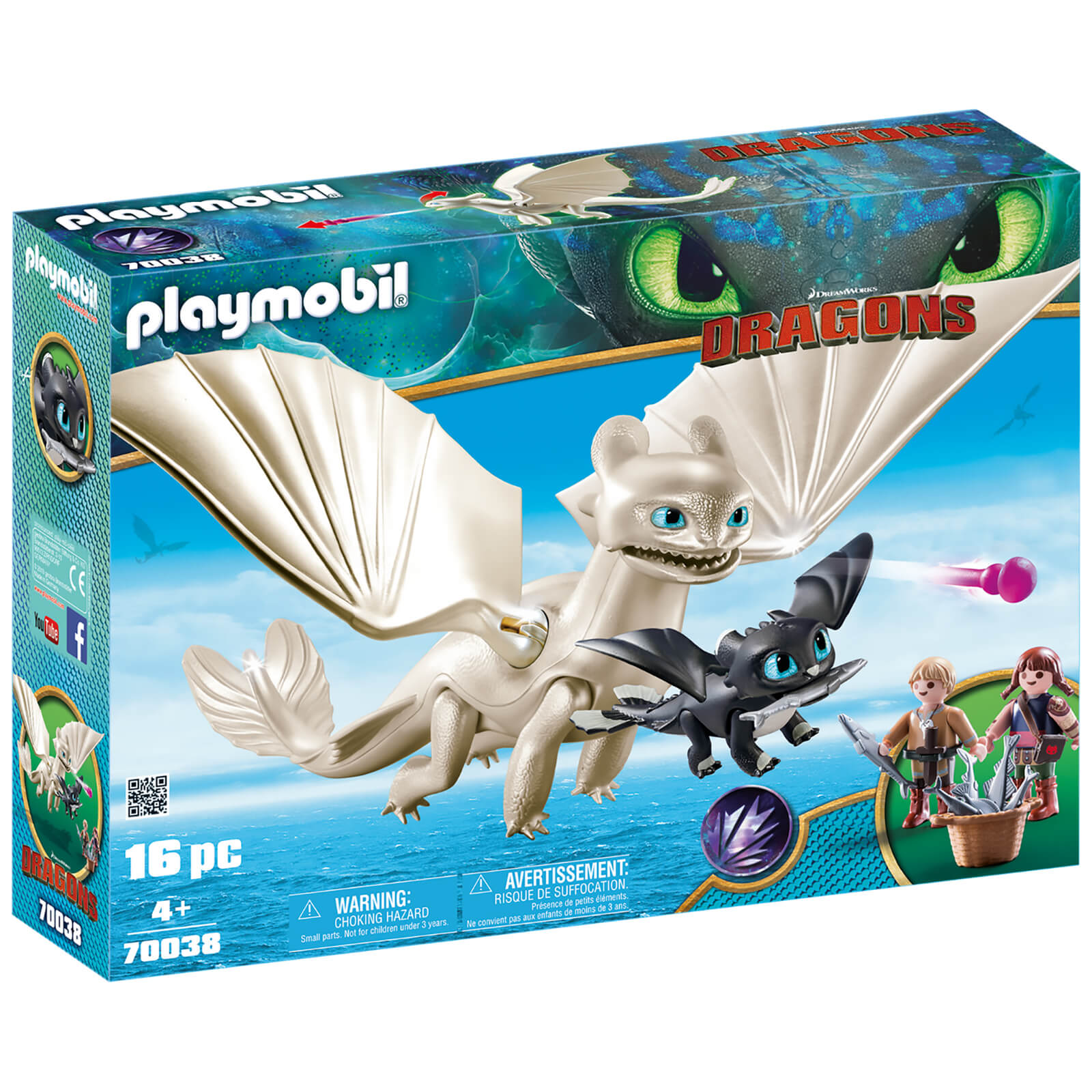 Image of Playmobil DreamWorks Dragons Light Fury with Baby Dragon and Children (70038)
