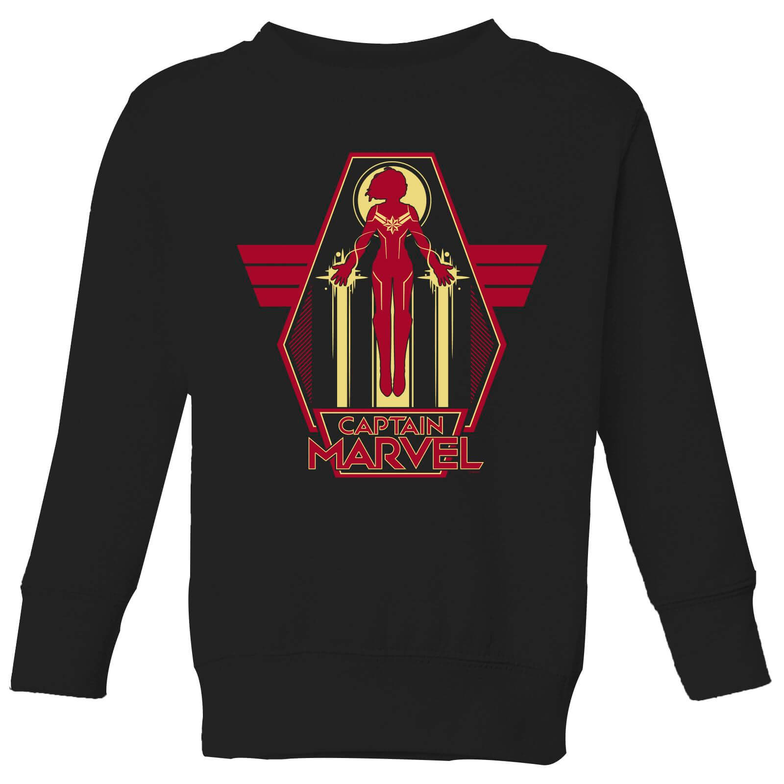 Captain Marvel Flying Warrior Kids' Sweatshirt - Black - 11-12 Years - Black