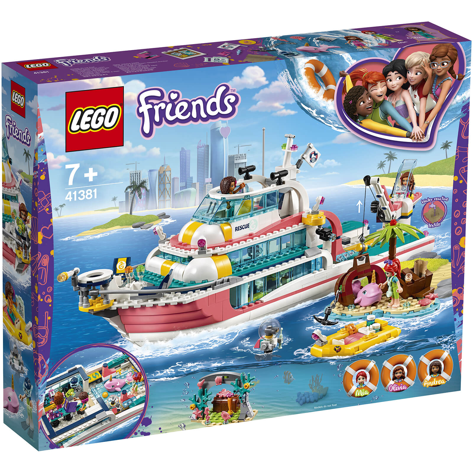 Image of LEGO Friends: Rescue Mission Boat Toy Sea Life Set (41381)