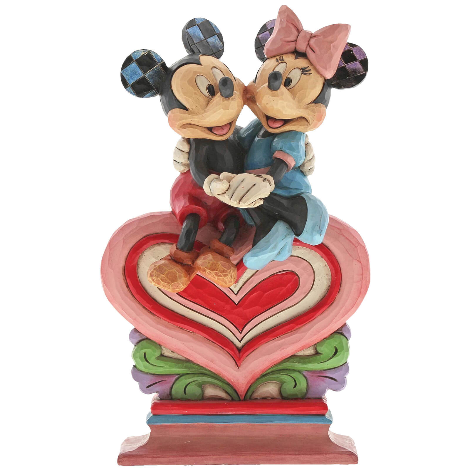 Image of Disney Traditions Heart to Heart (Mickey Mouse and Minnie on Heart Figurine) 17.5cm