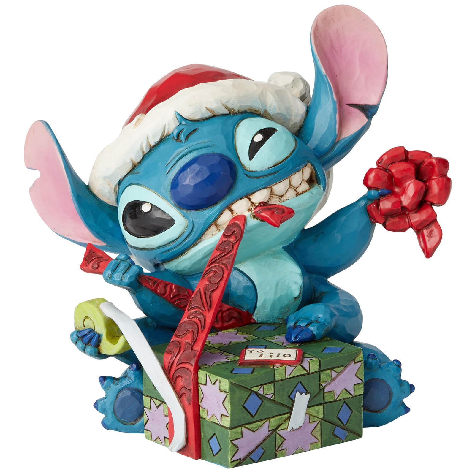Image of Disney Traditions Bad Wrap (Stitch with Santa Hat Figurine) 13.0cm