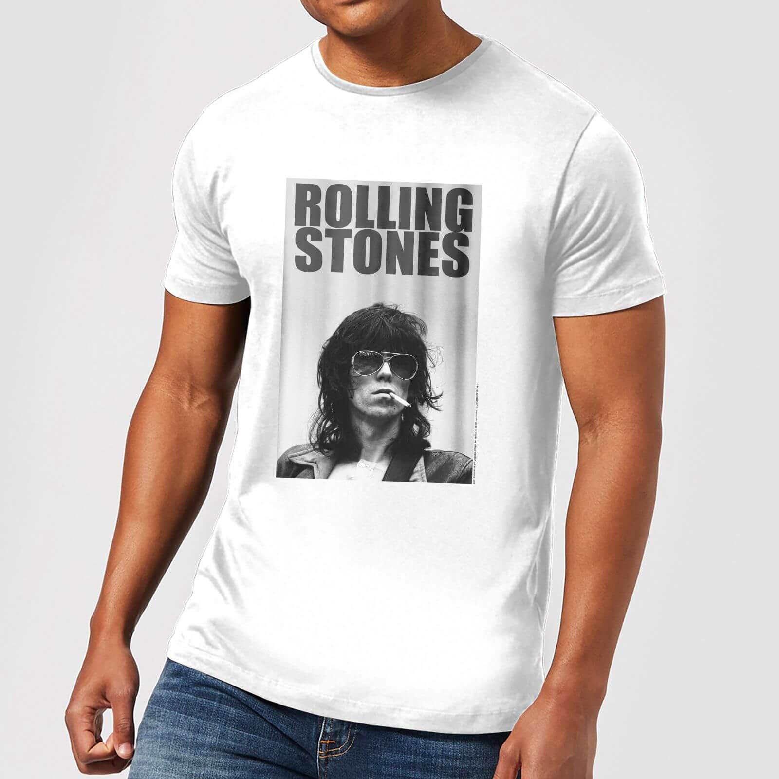 Rolling Stones Keith Smoking Men's T Shirt White XS Wit