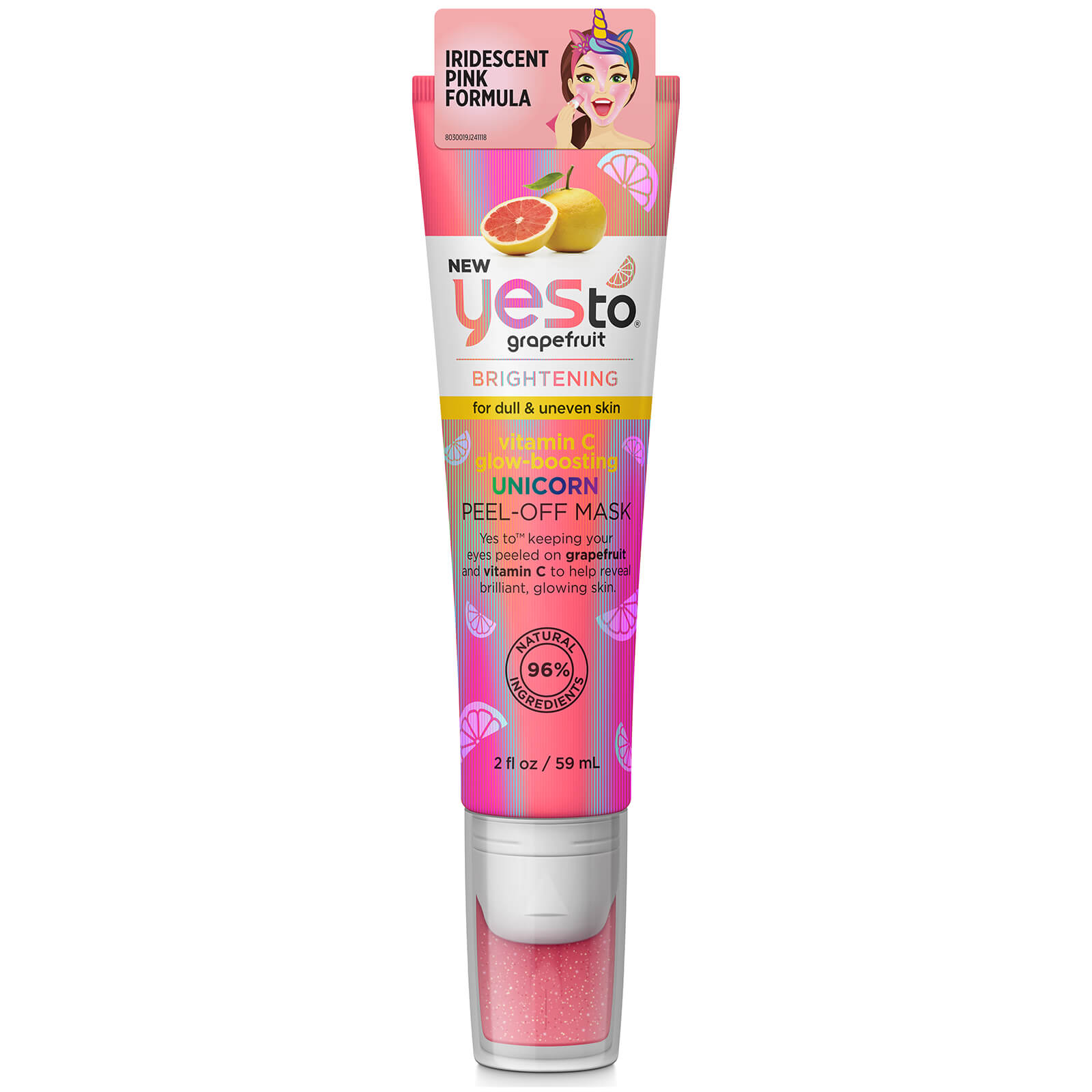 yes to grapefruit vitamin c glow boosting unicorn peel-off mask tube 59ml
