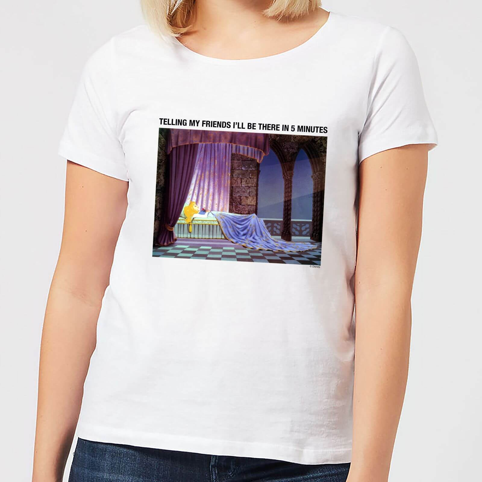 Disney Disney Sleeping Beauty I'll Be There In Five Women's T-Shirt - White - 4XL - White