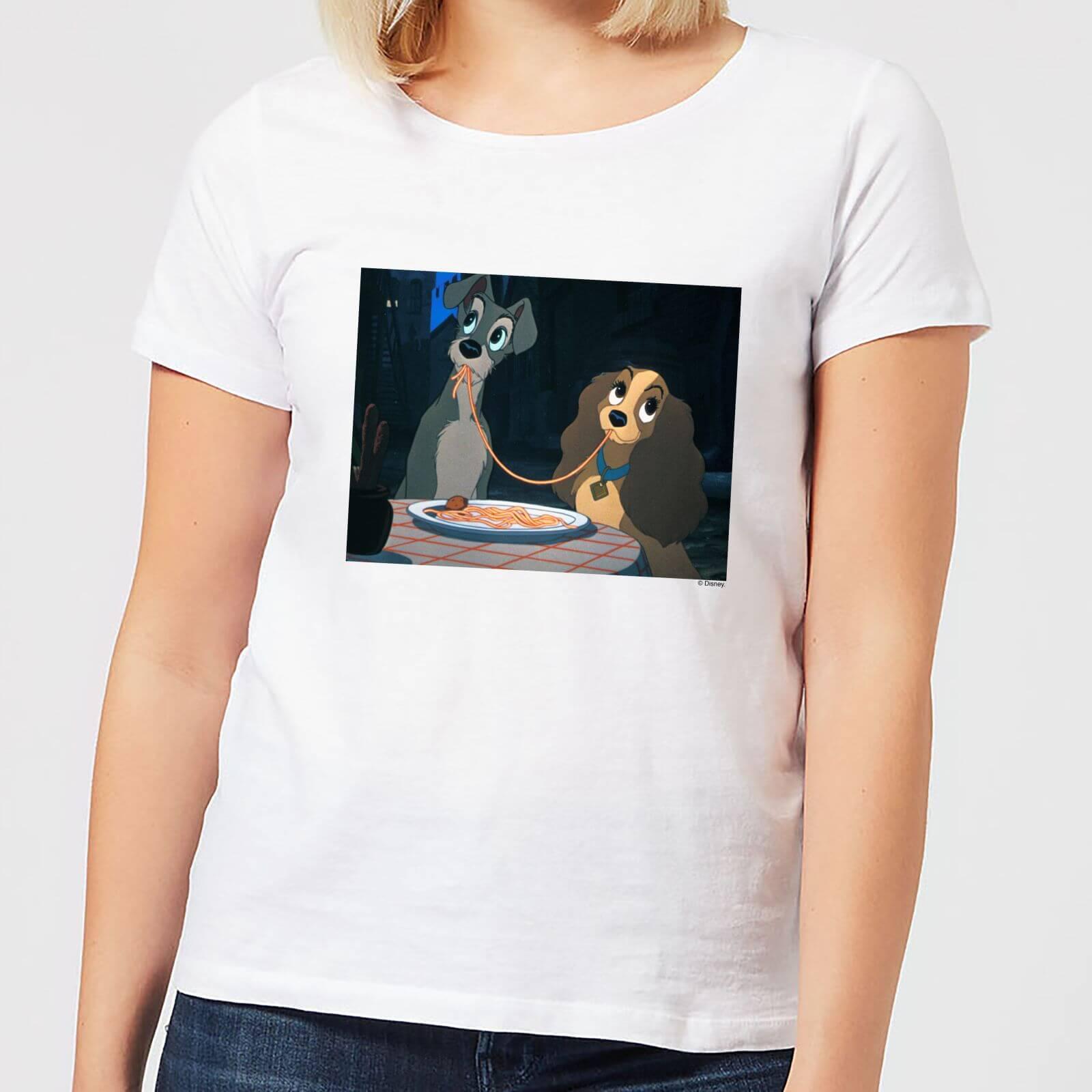 Disney Disney Lady And The Tramp Spaghetti Scene Women's T-Shirt - White - 5XL - White