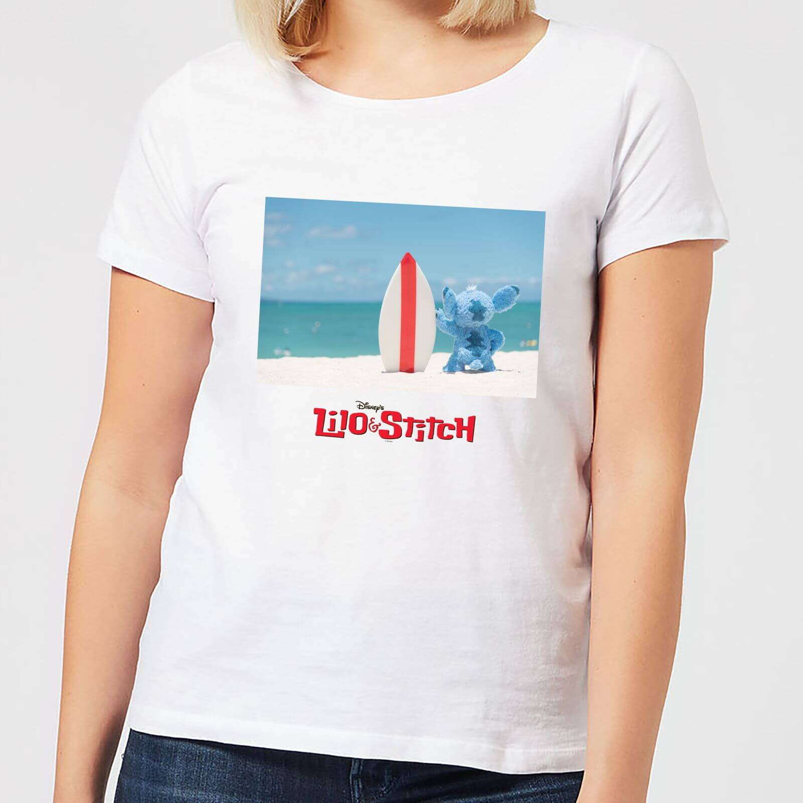 Disney Disney Lilo And Stitch Surf Beach Women's T-Shirt - White - 5XL - White