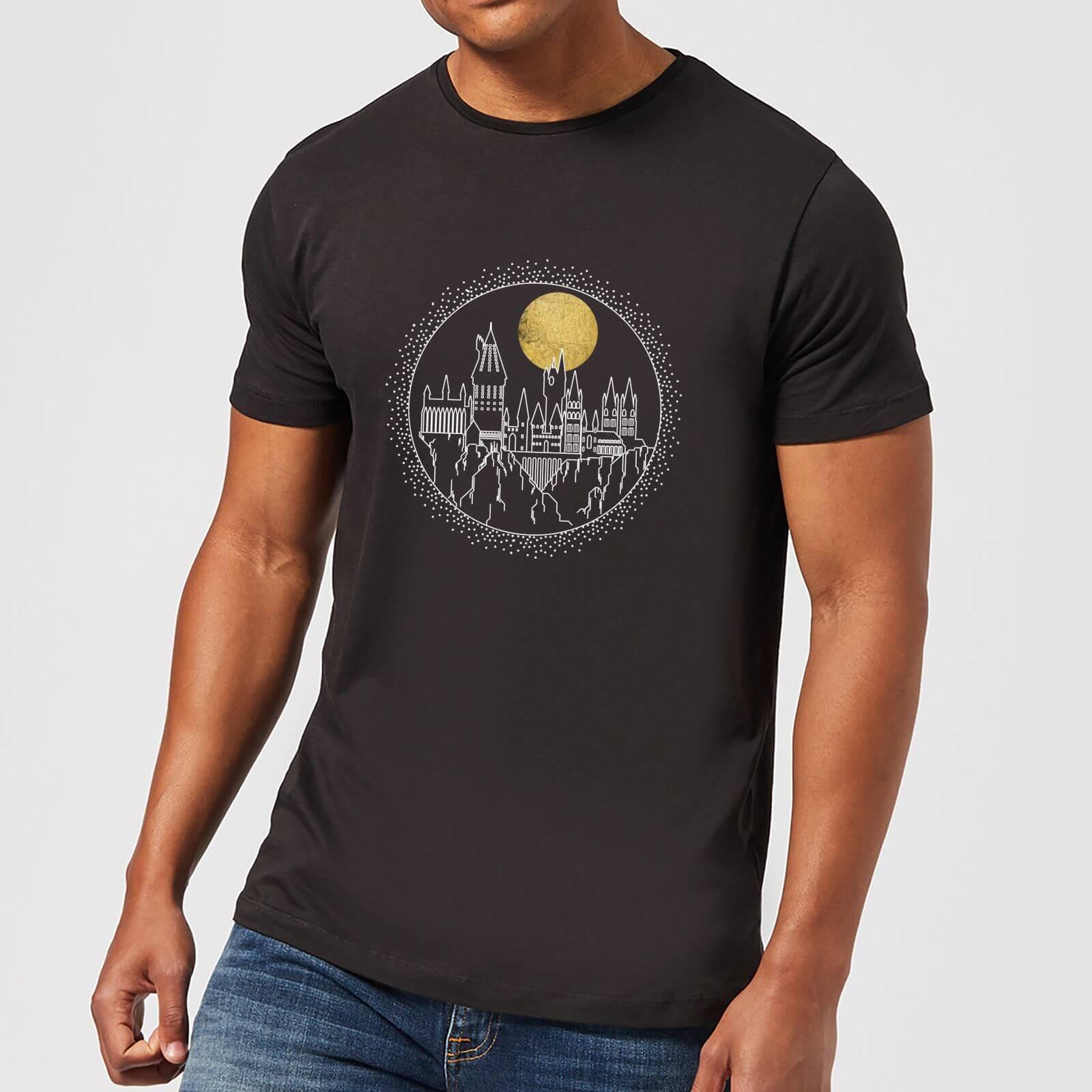 Harry Potter Hogwarts Castle Moon Men's T-Shirt - Black - 5XL - Black